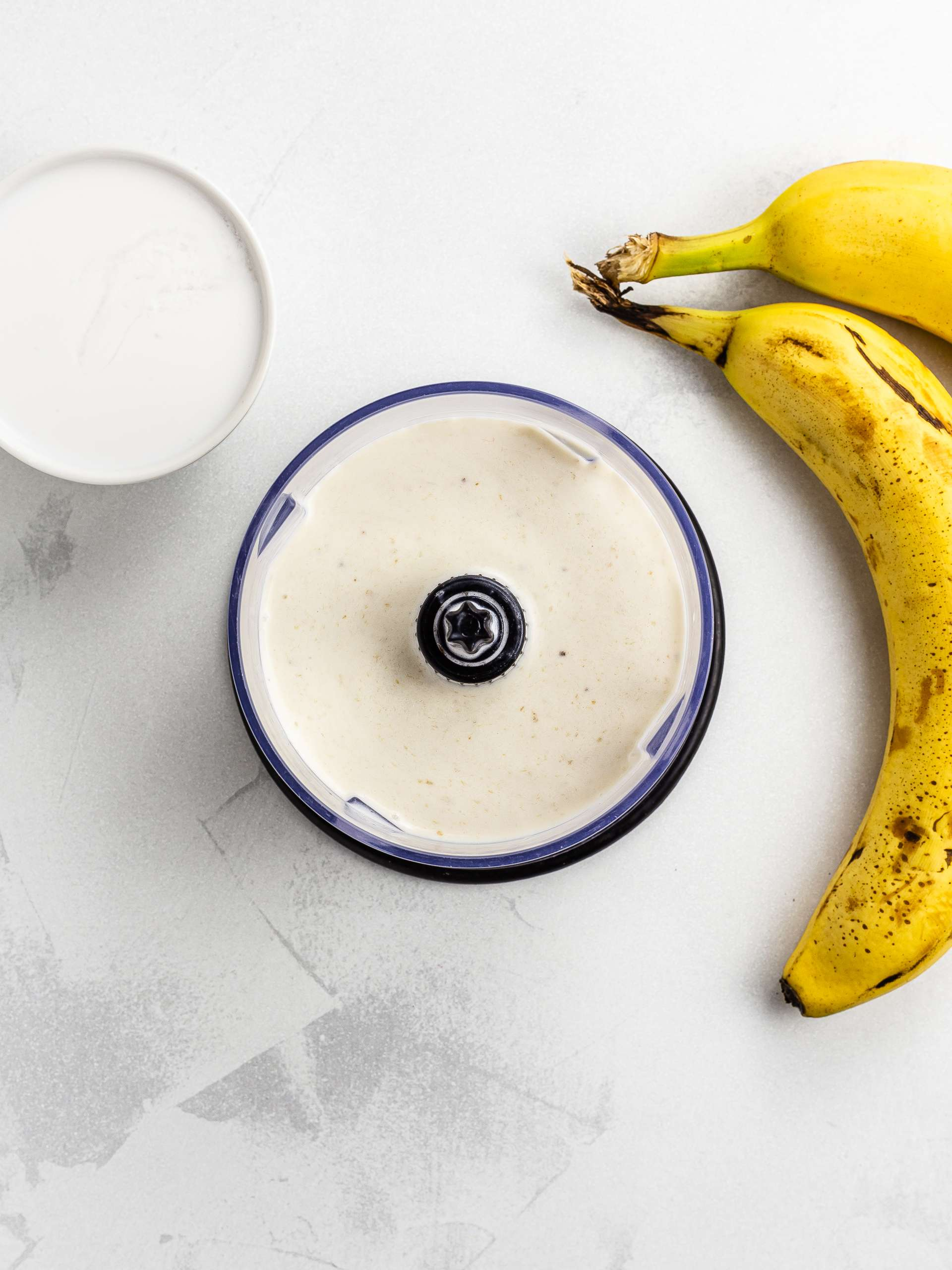 blended coconut milk and banana for ice cream