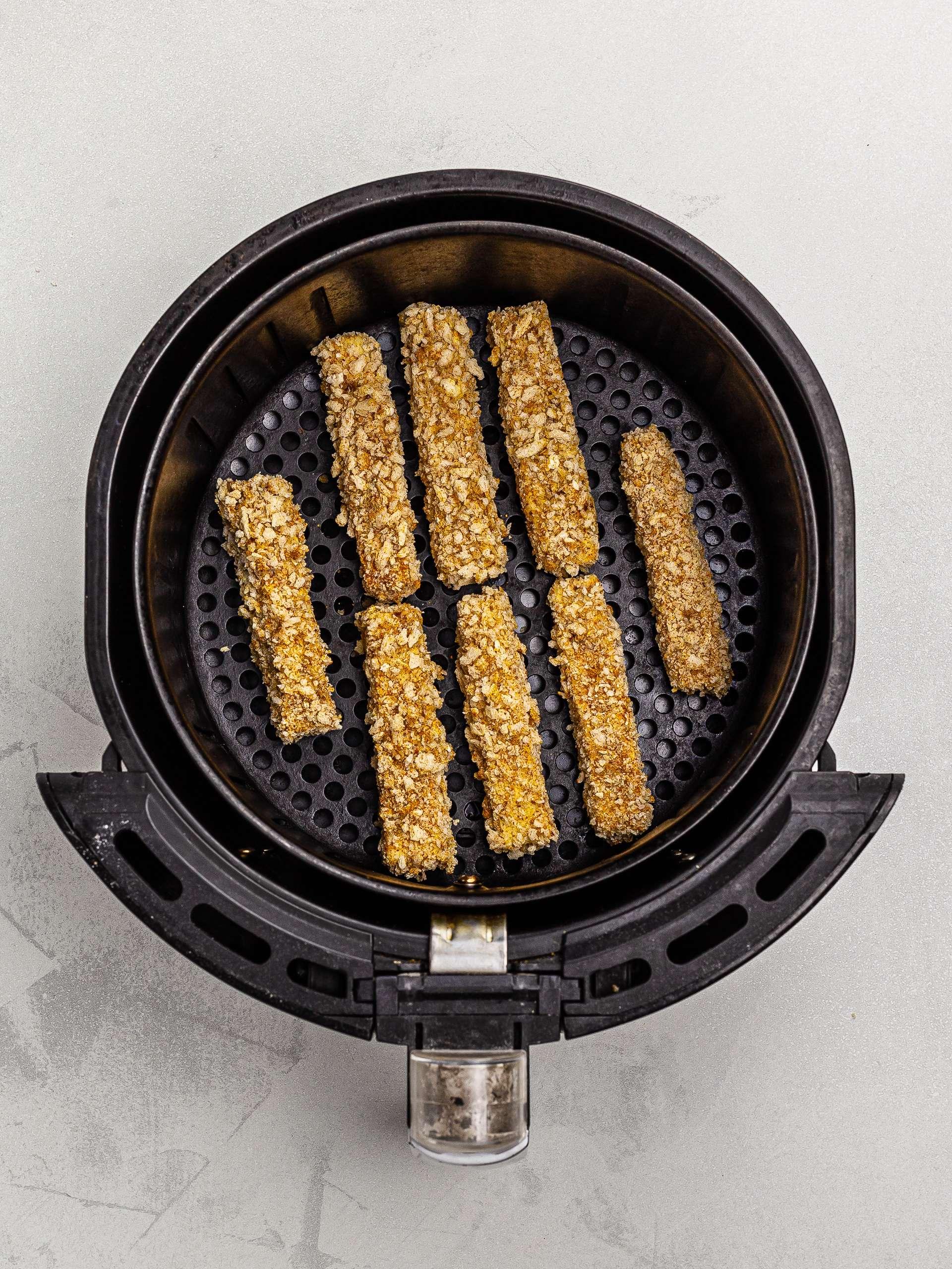 eggplant fries in the air fryer basket