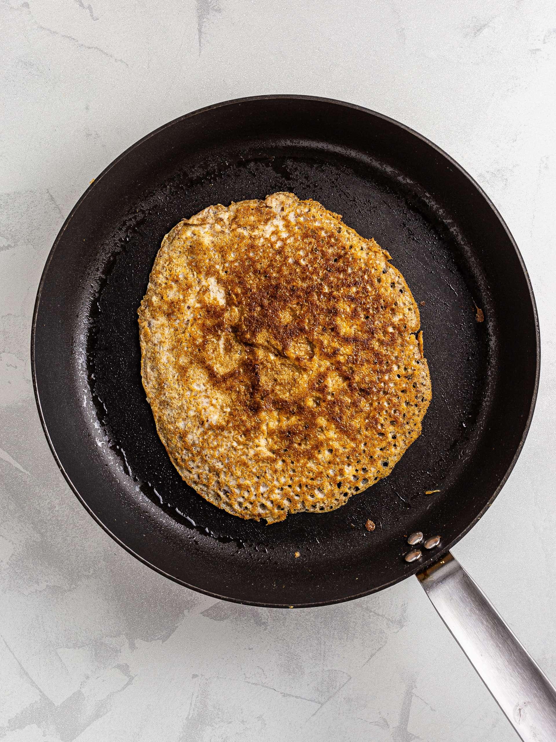 cooked almond milk crepe