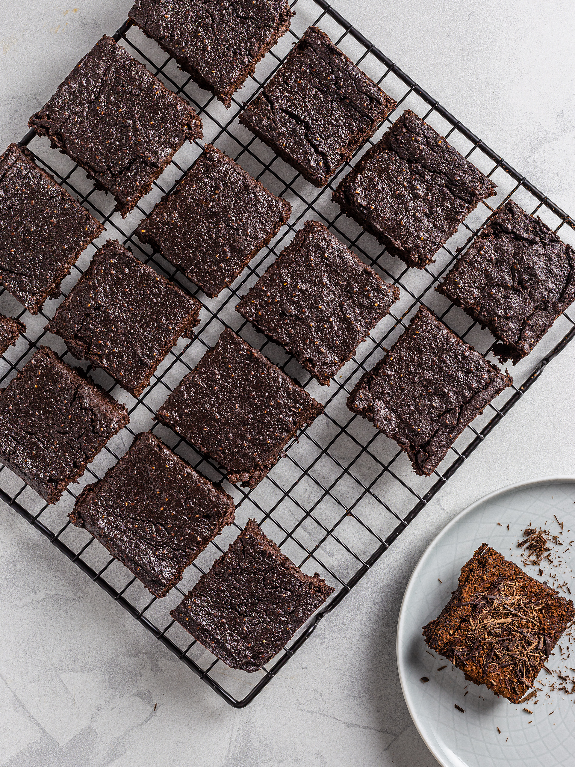 Chocolate brownies cut into squares