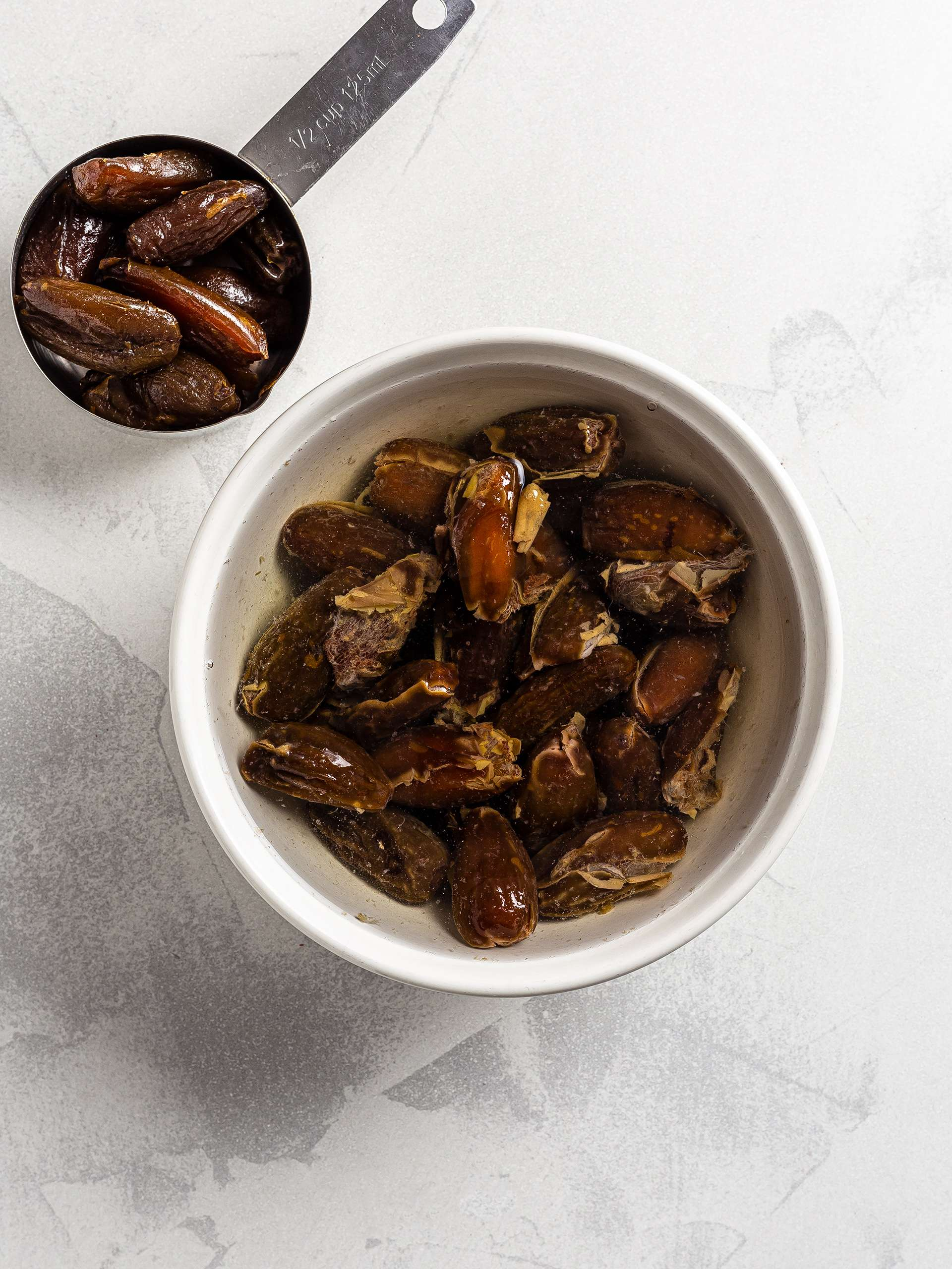 Soaked dates in a bowl
