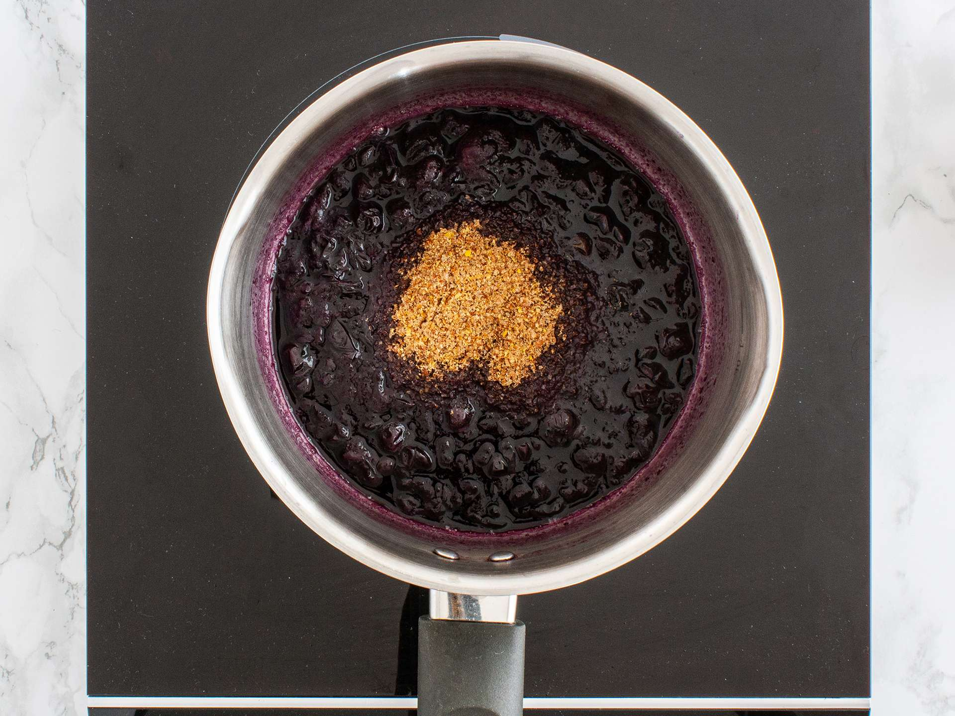 Step 2.1 of Sugar Free Blueberry Jam Recipe with Flaxseeds