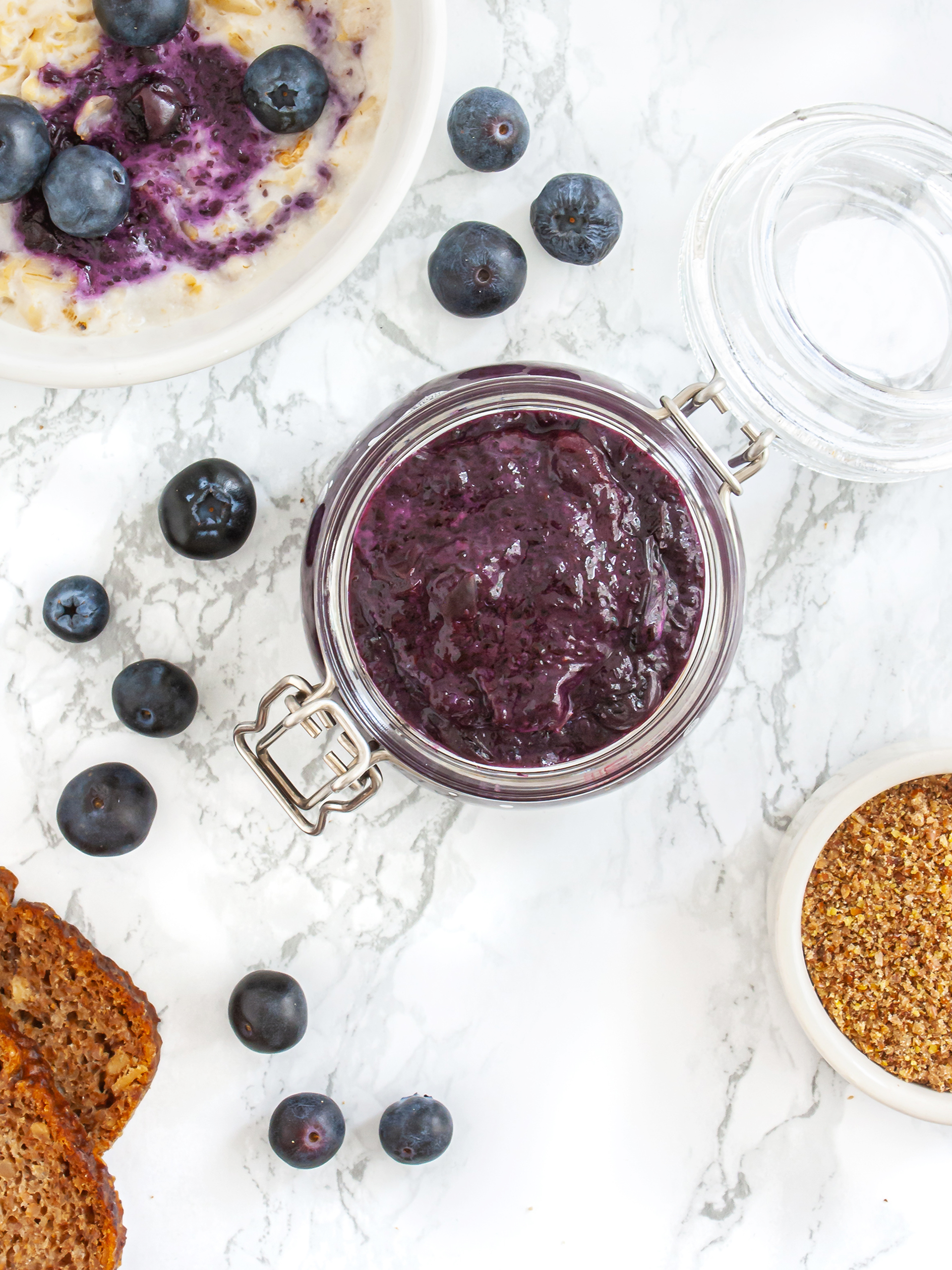 Sugar Free Blueberry Jam Recipe with Flaxseeds Thumbnail