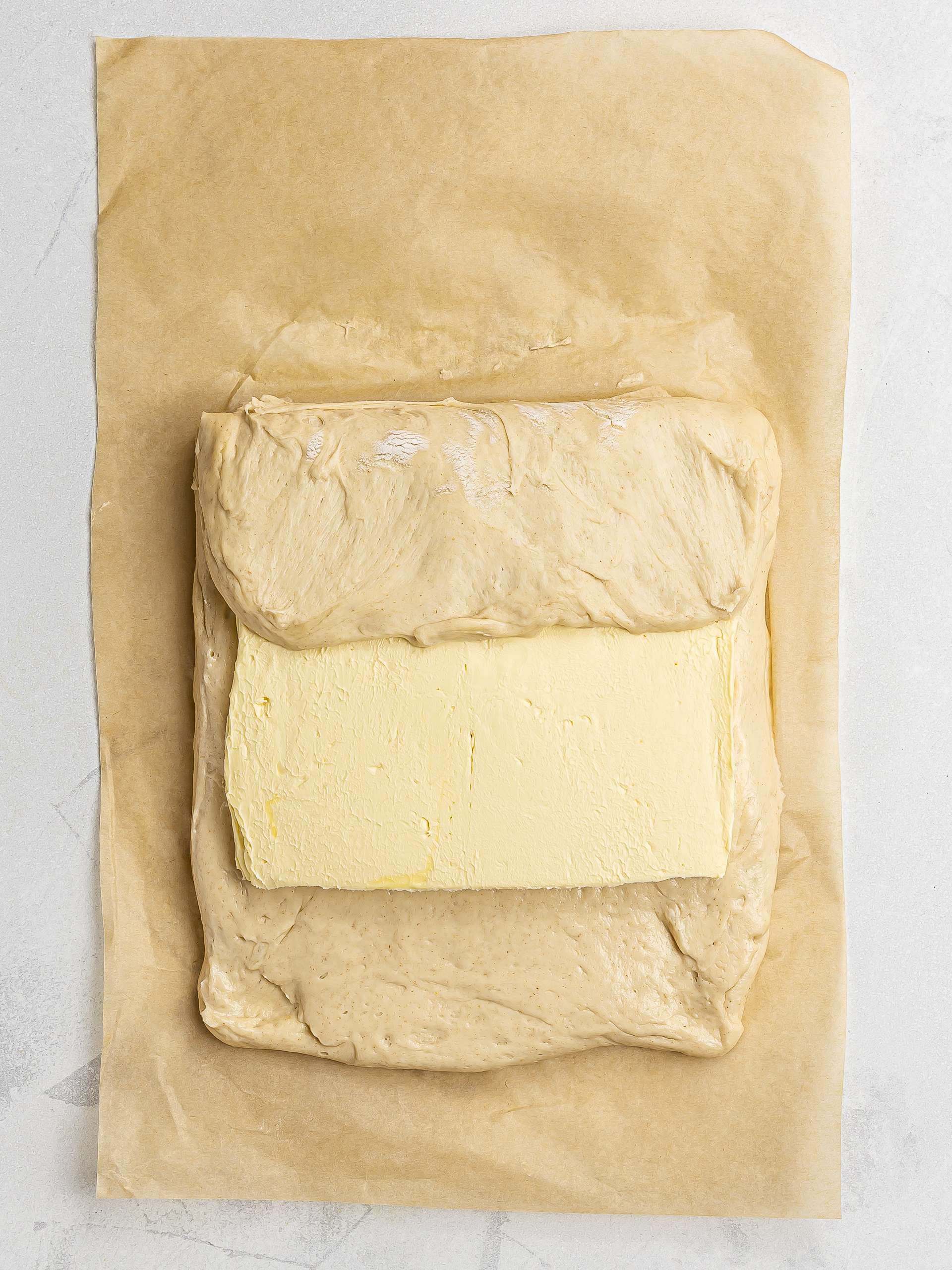 vegan pastry dough with butter slab in the centre