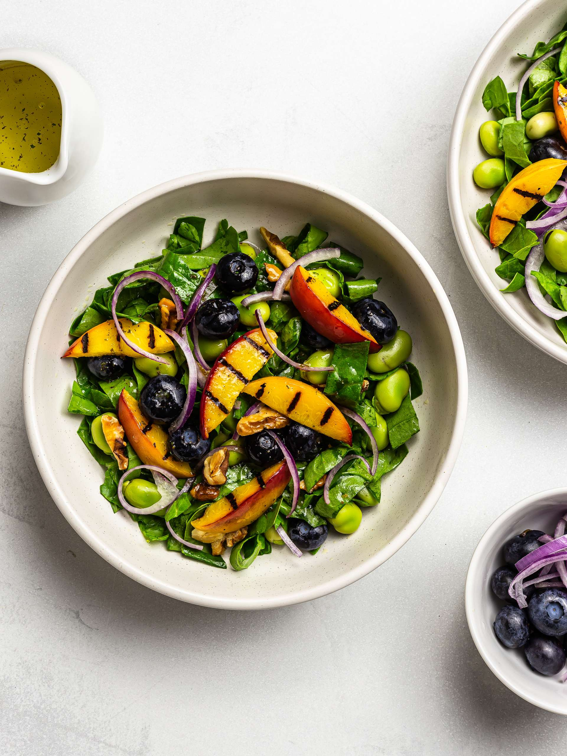 Vegan Peach and Blueberry Spinach Salad