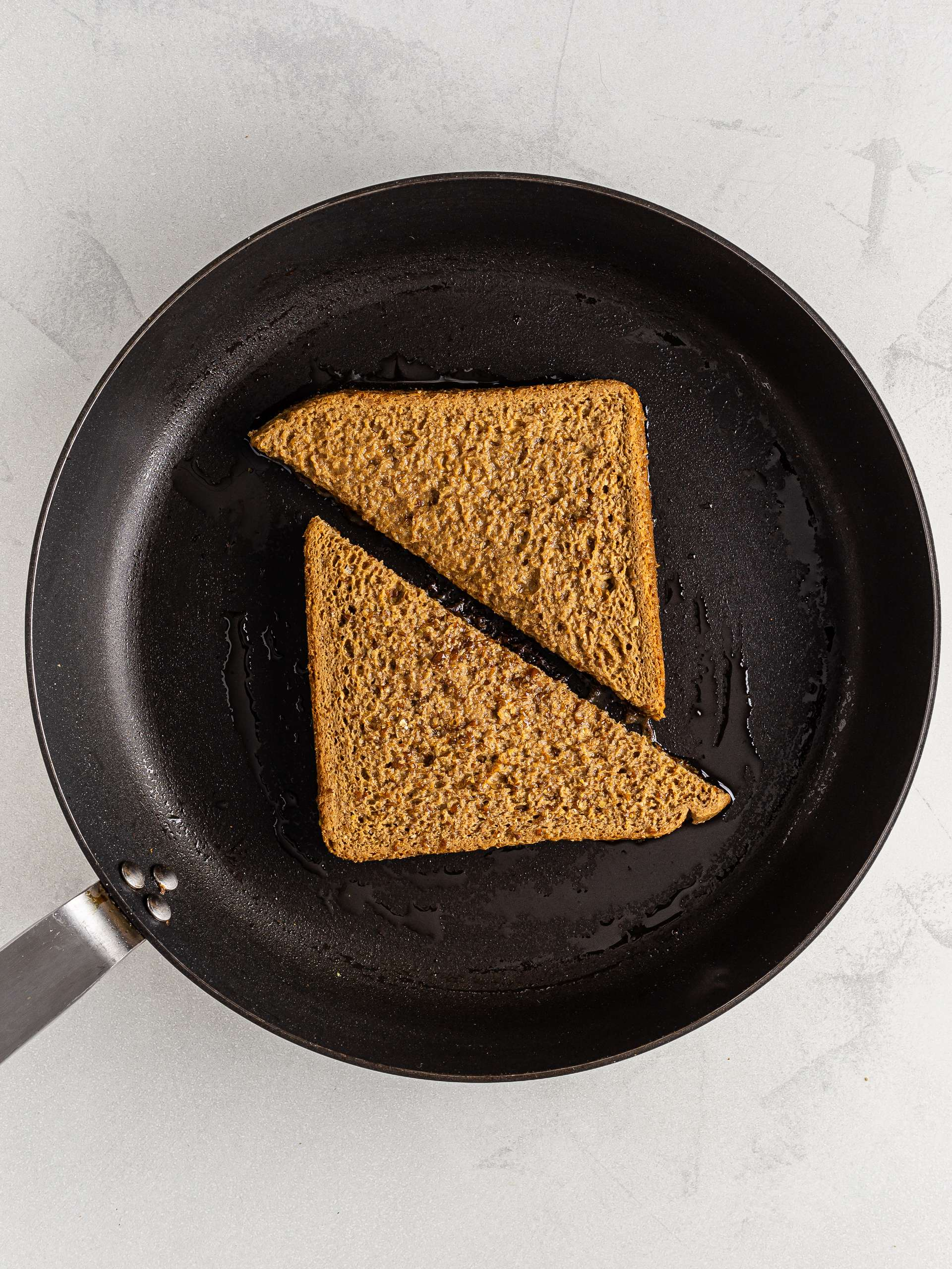 vegan coffee french toast in a skillet