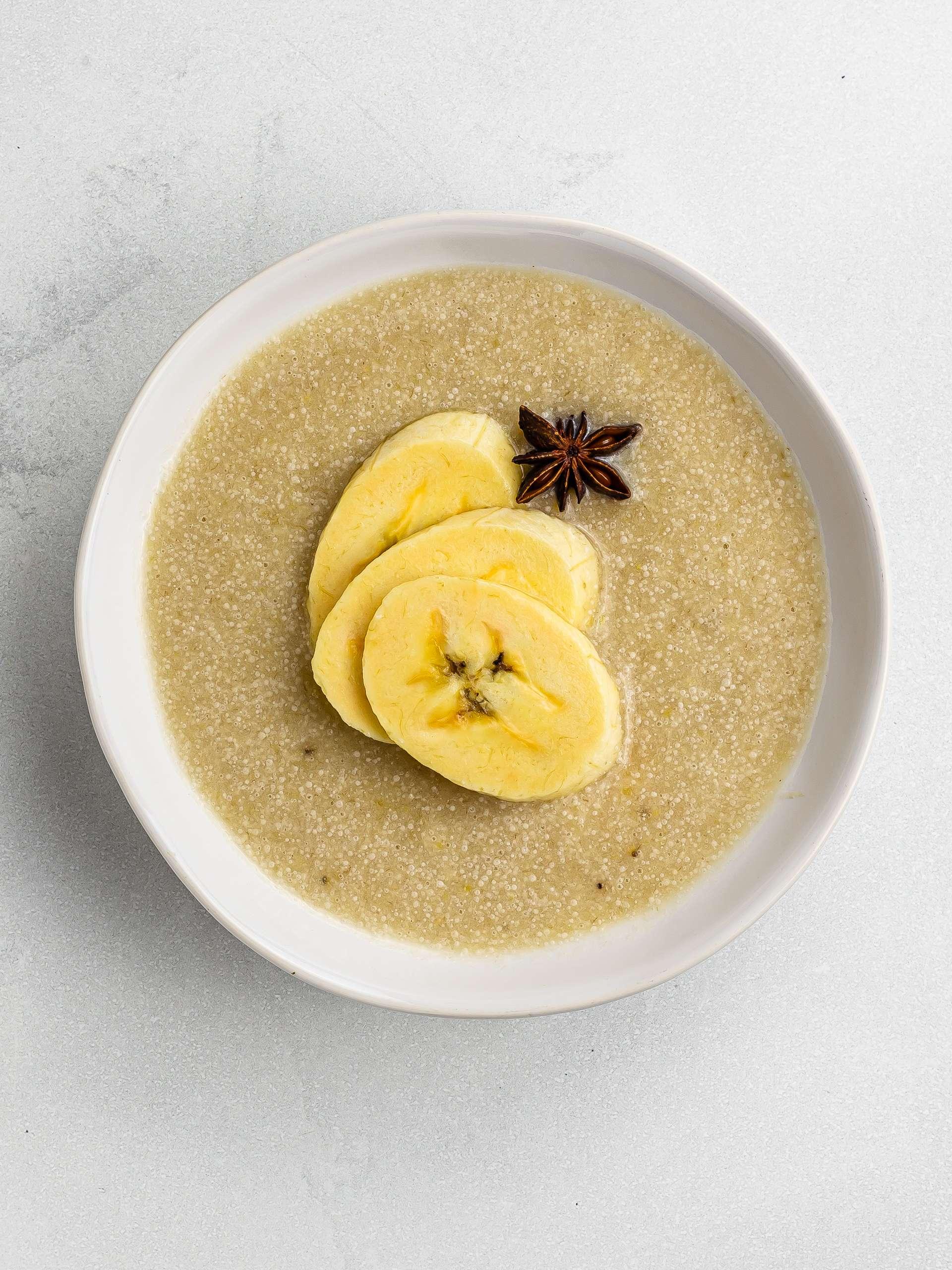 haitian plantain porridge in a bowl