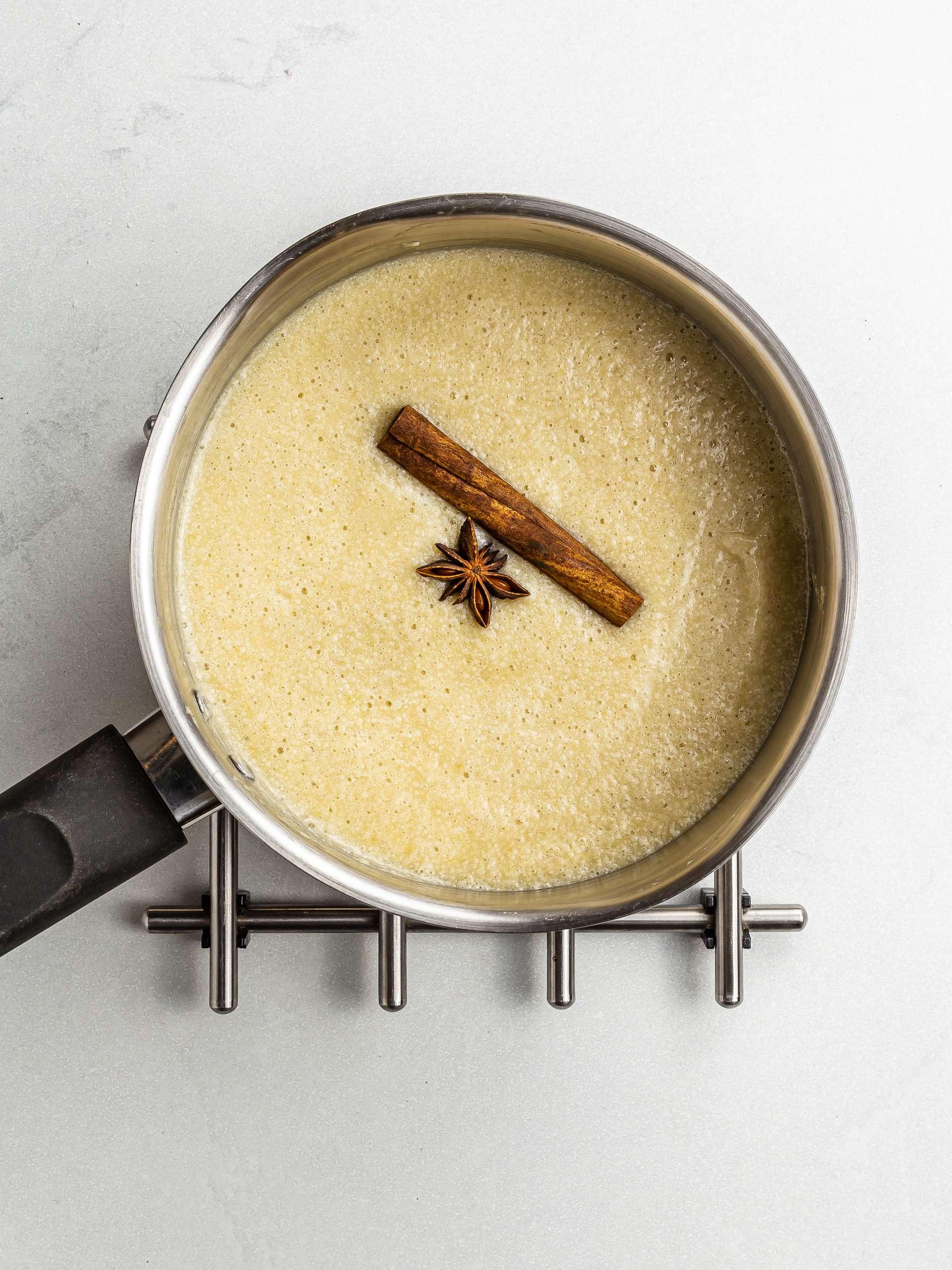 cooking plantain porridge in a pot