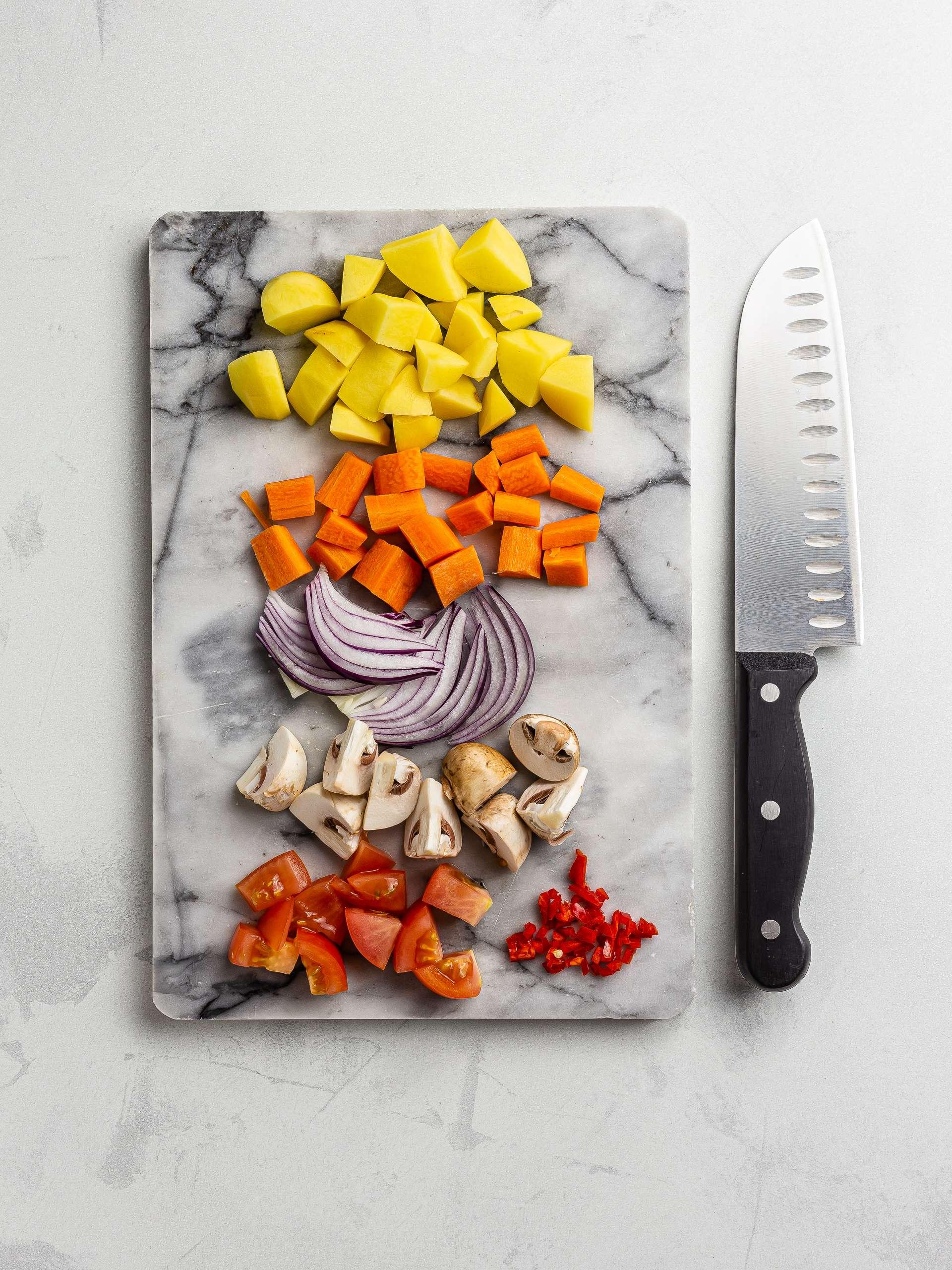 chopped vegetables for goulash