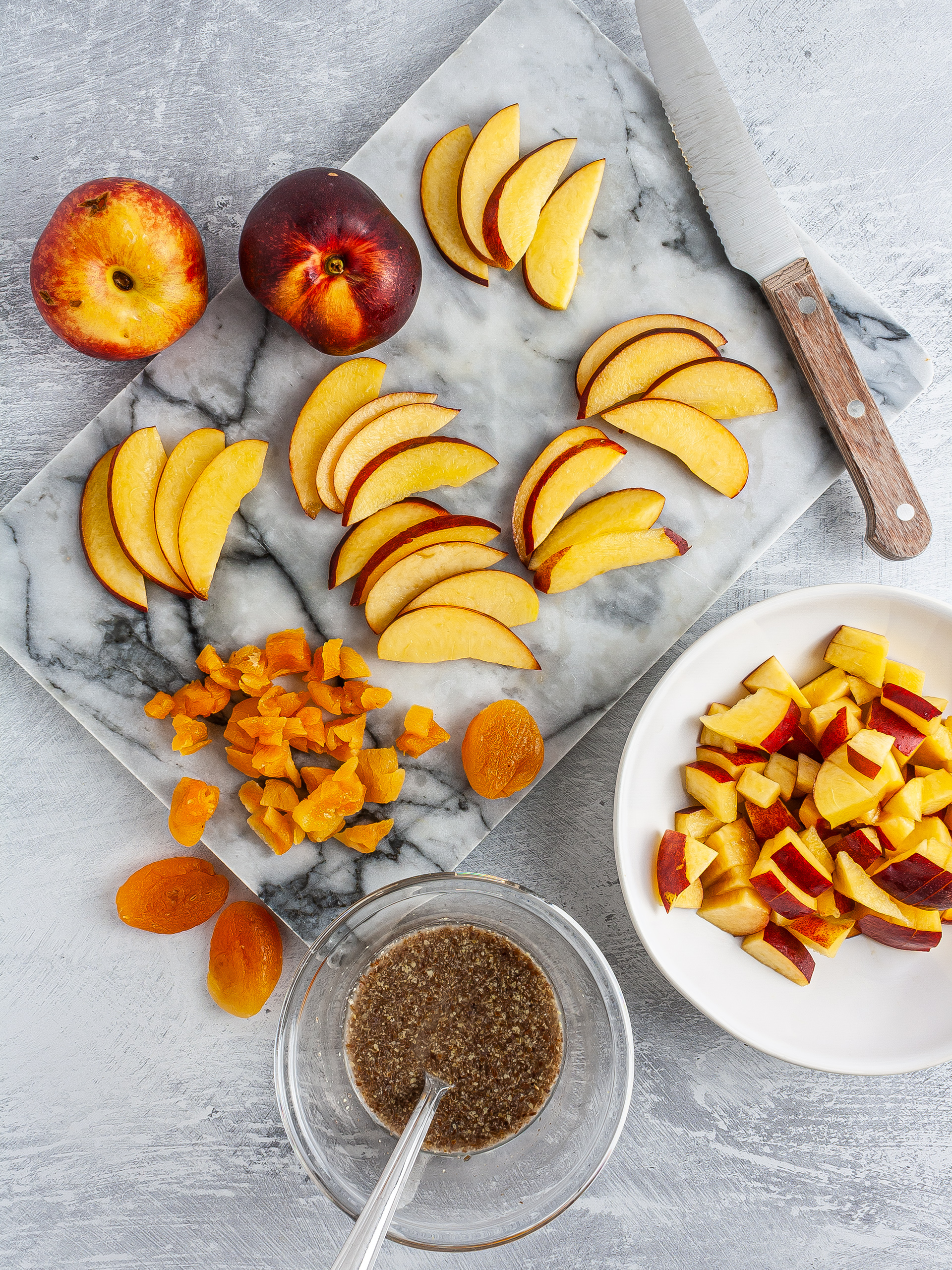 Sliced peaches, chopped apricots, and flaxeggs