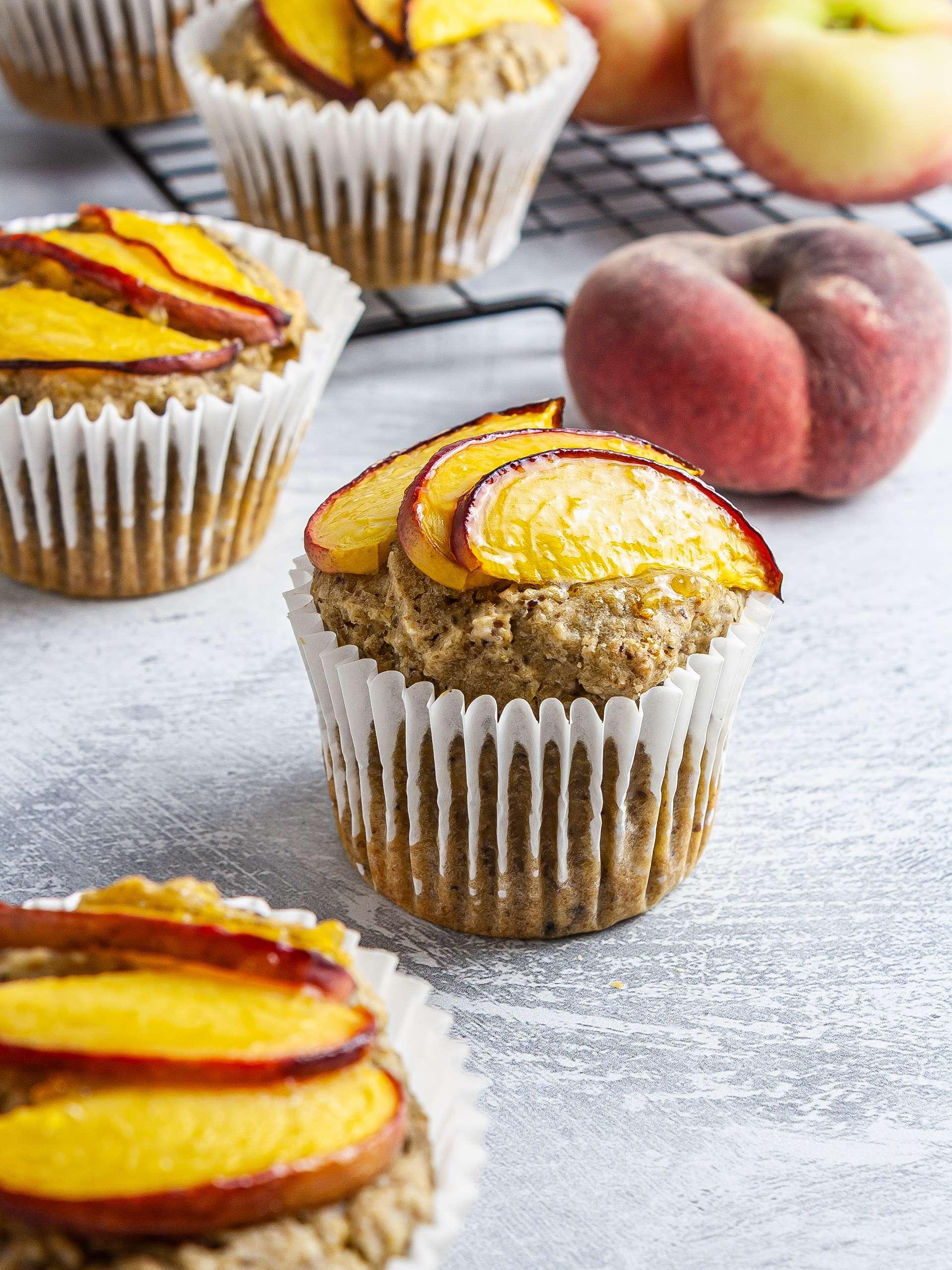 {Gluten-Free, Sugar-Free} Vegan Peach Muffins Thumbnail