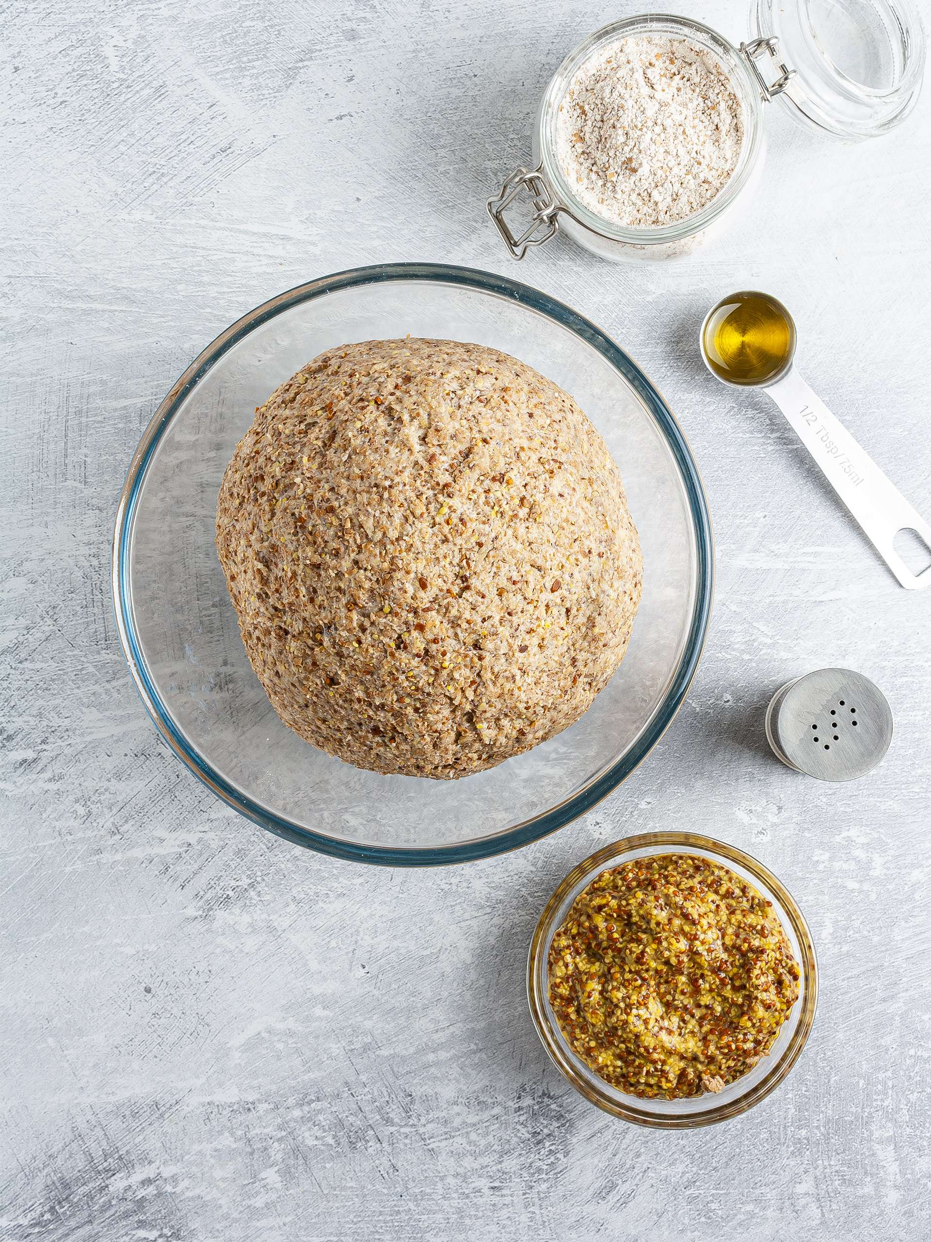 Mustard cracker dough with mustard and olive oil