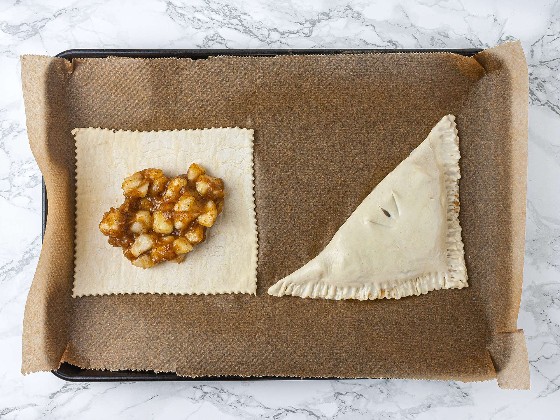 Gluten-free pastry sheets with pear and dates filling inside