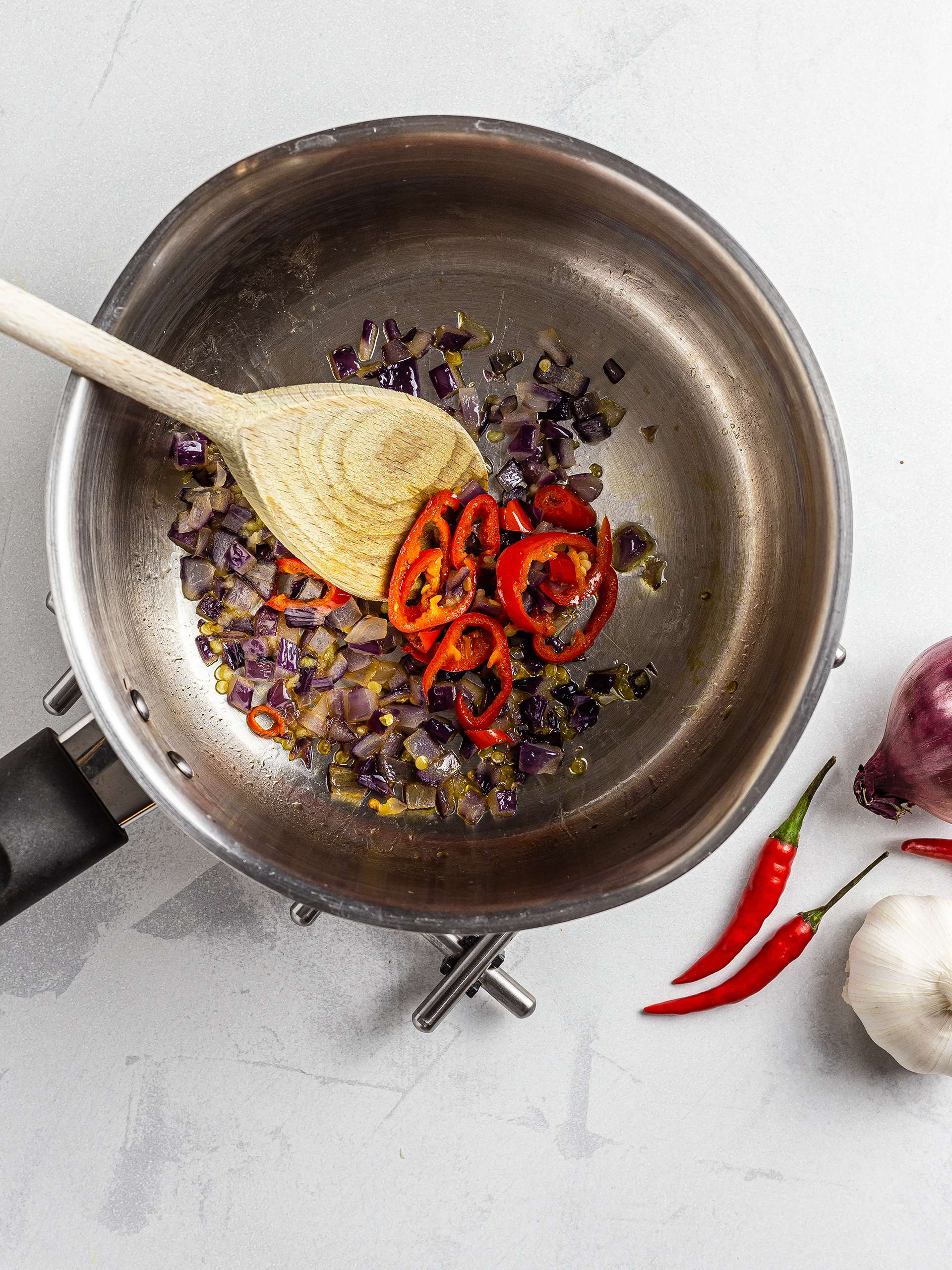 Onions sizzled with garlic and chillies