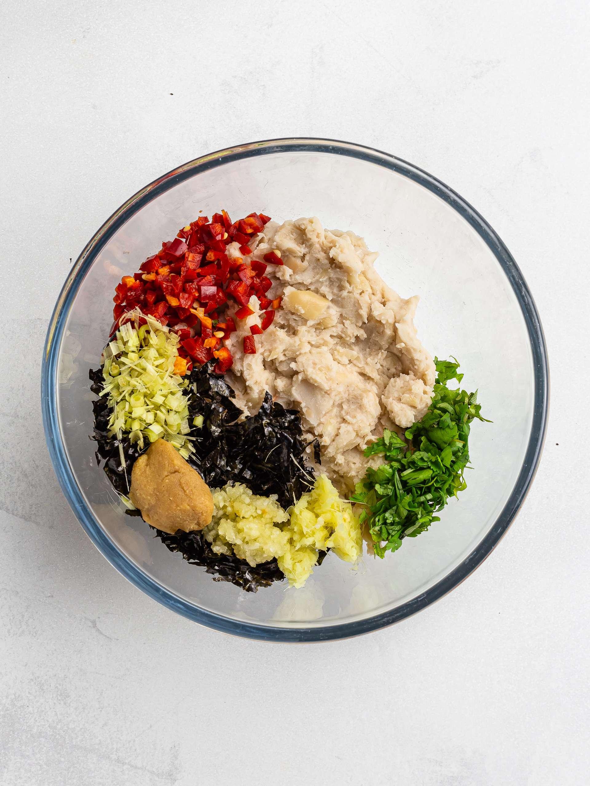 vegan thai fish ingredients in a bowl