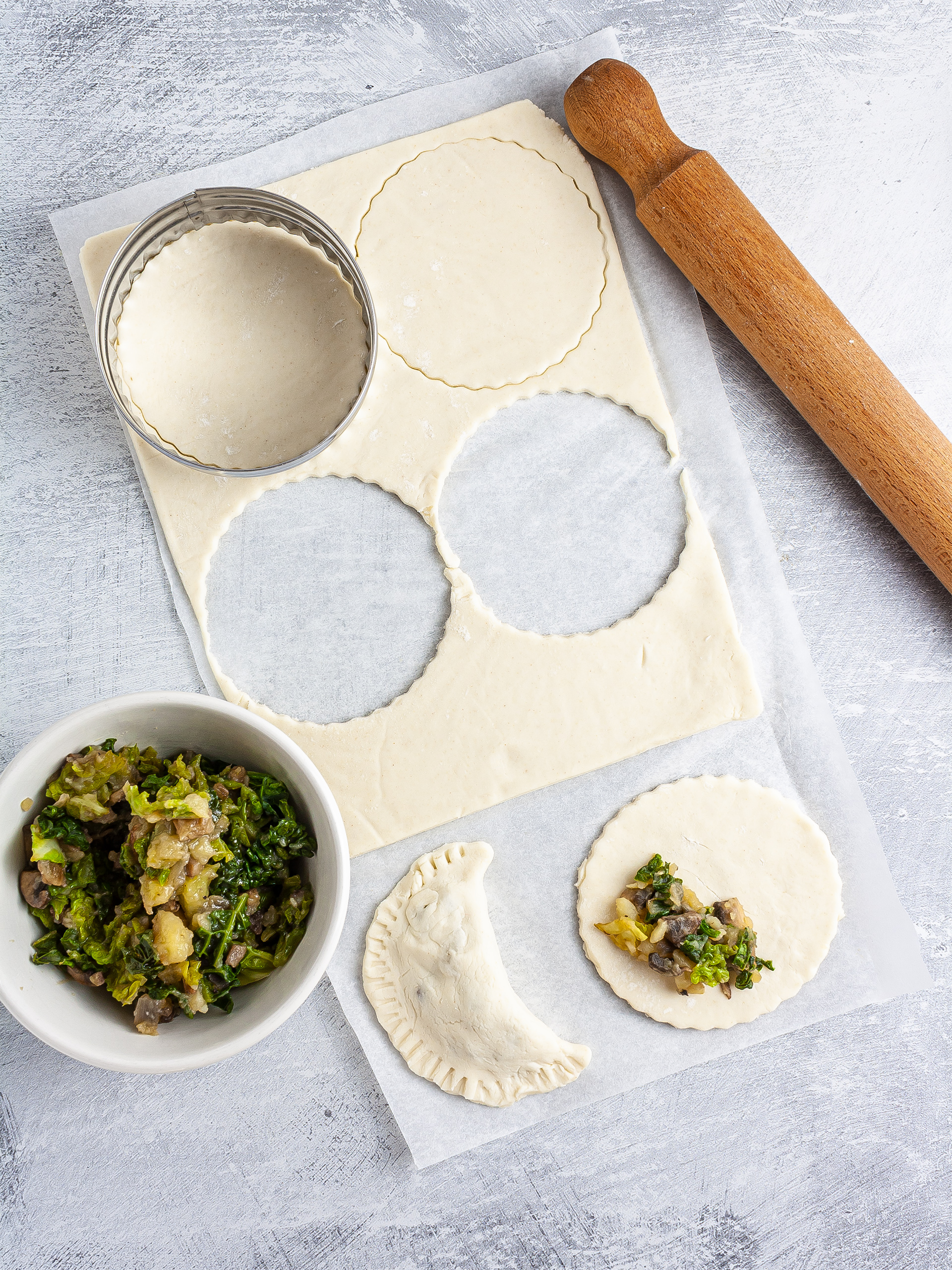 Cut and filled pierogies