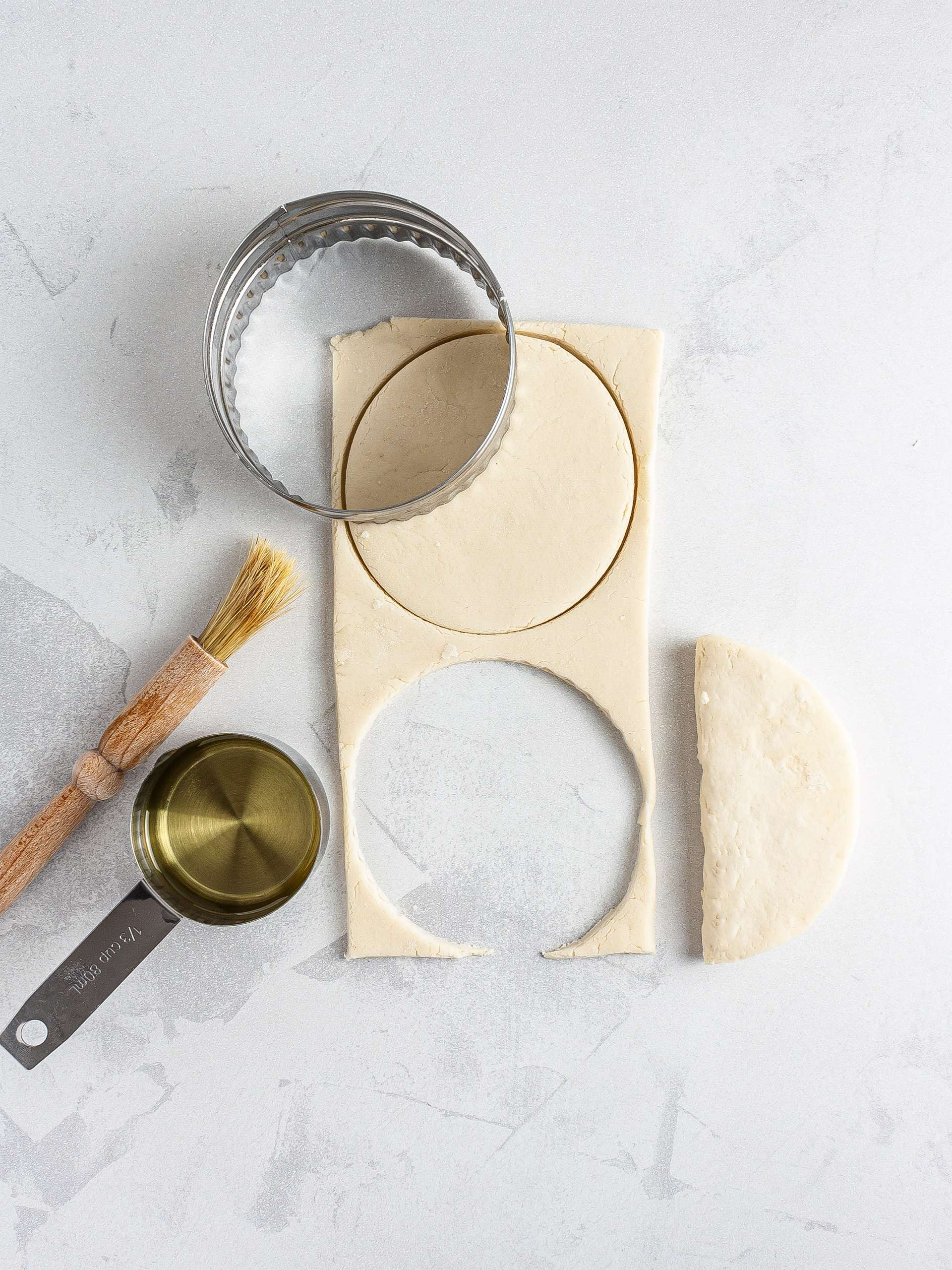 Cut out and folded bun dough