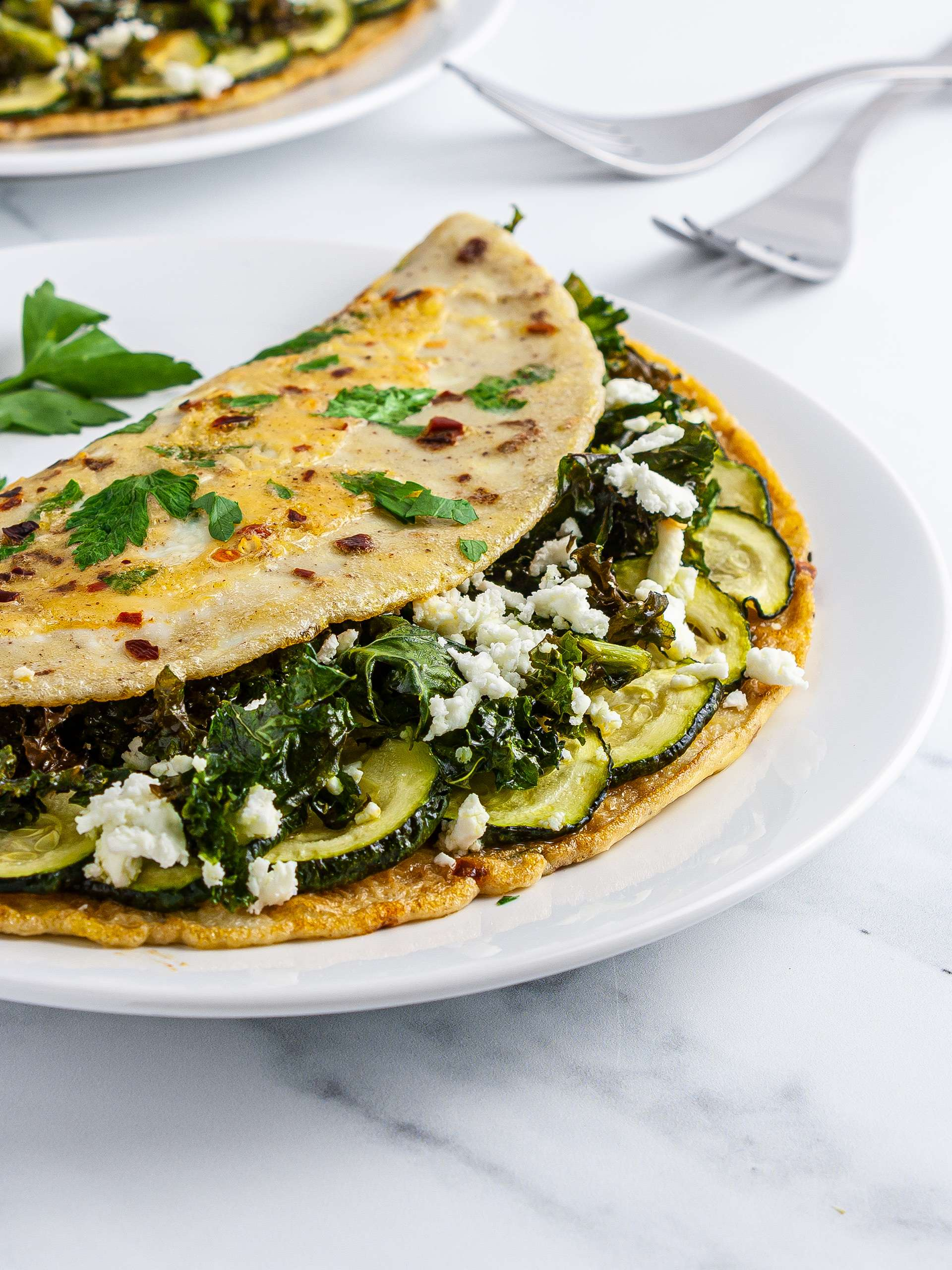 Kale Courgette and Feta Omelette Recipe Thumbnail