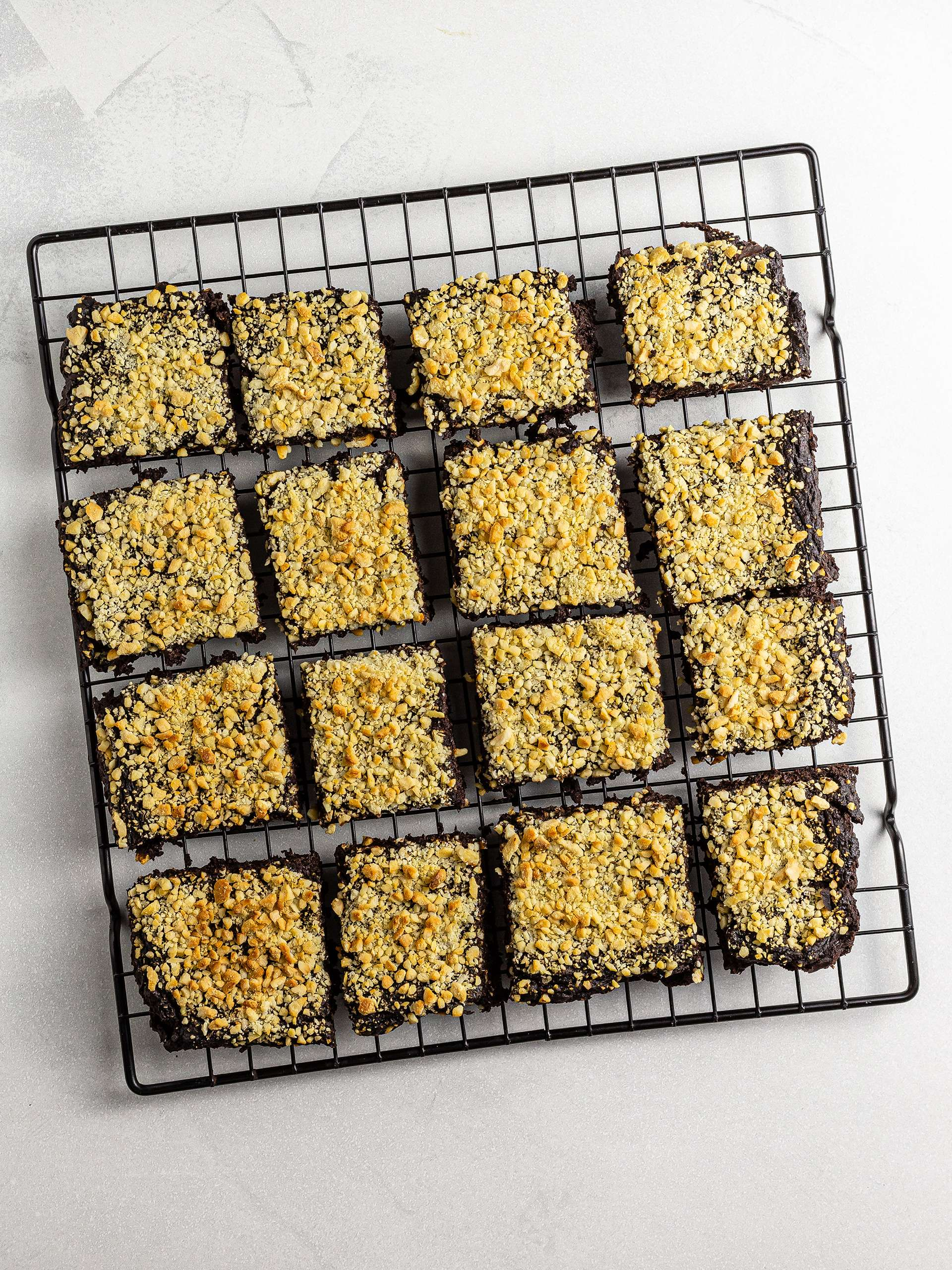 Zucchini brownies cut into squares