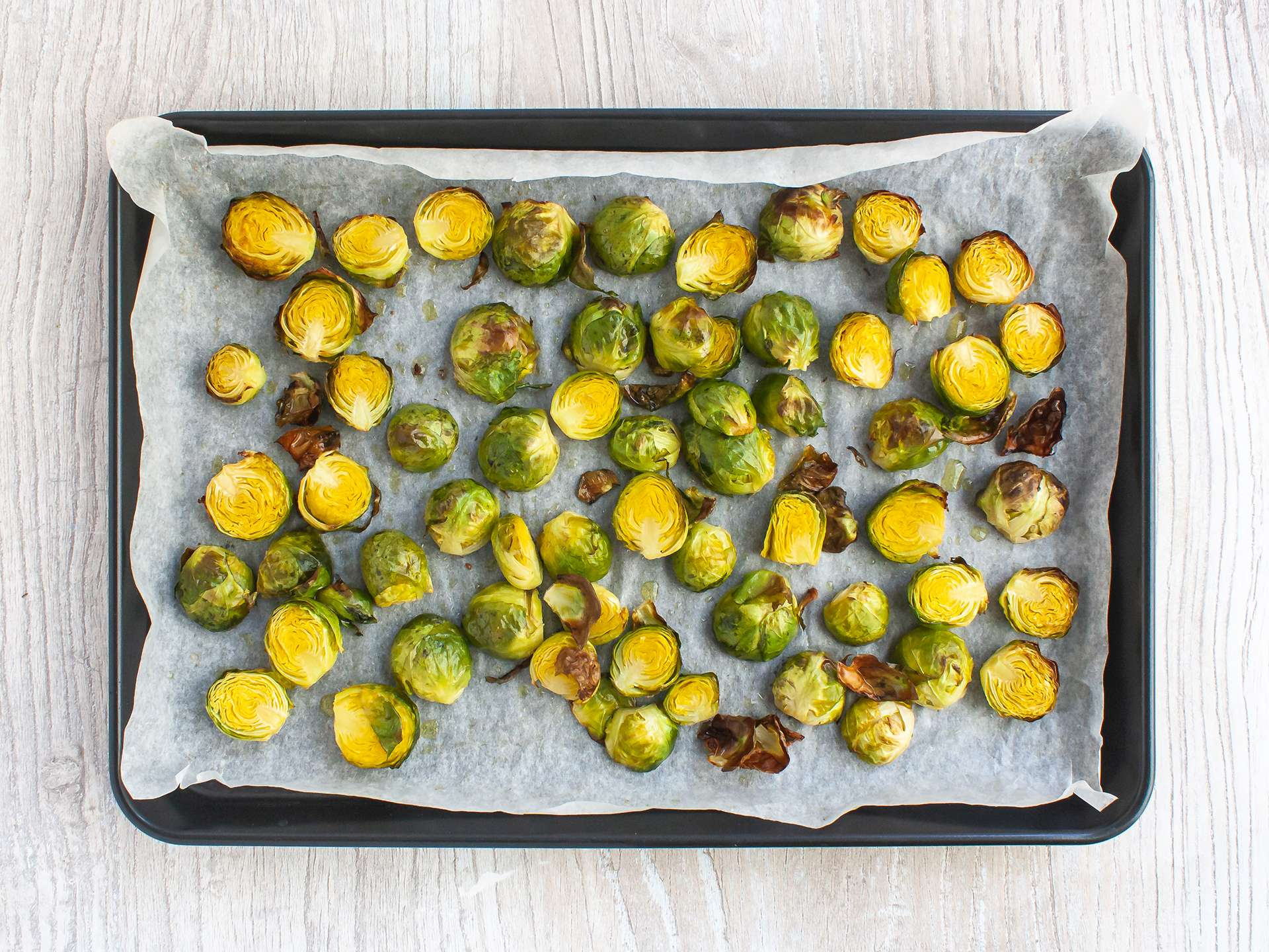 Step 1.1 of Chilli Lime Roasted Sprouts with Avocado Recipe