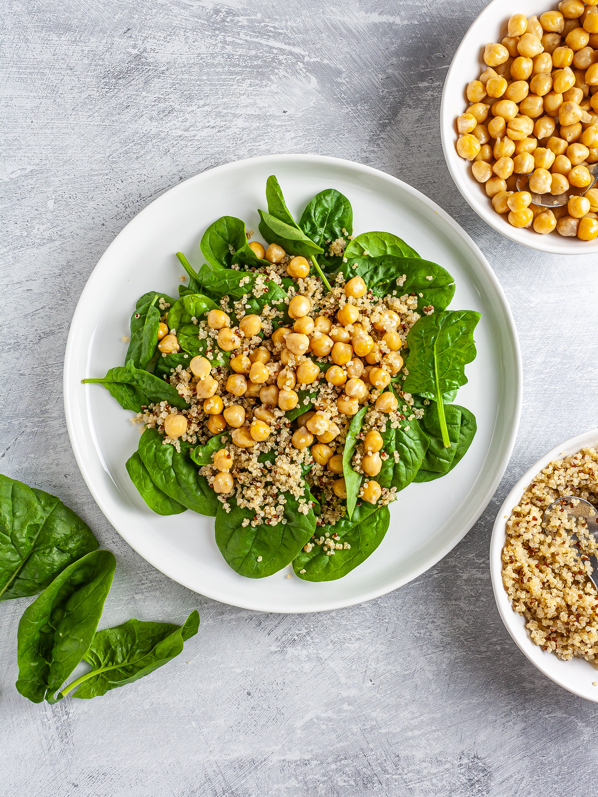 Spinach, chickpeas, and quinoa salad