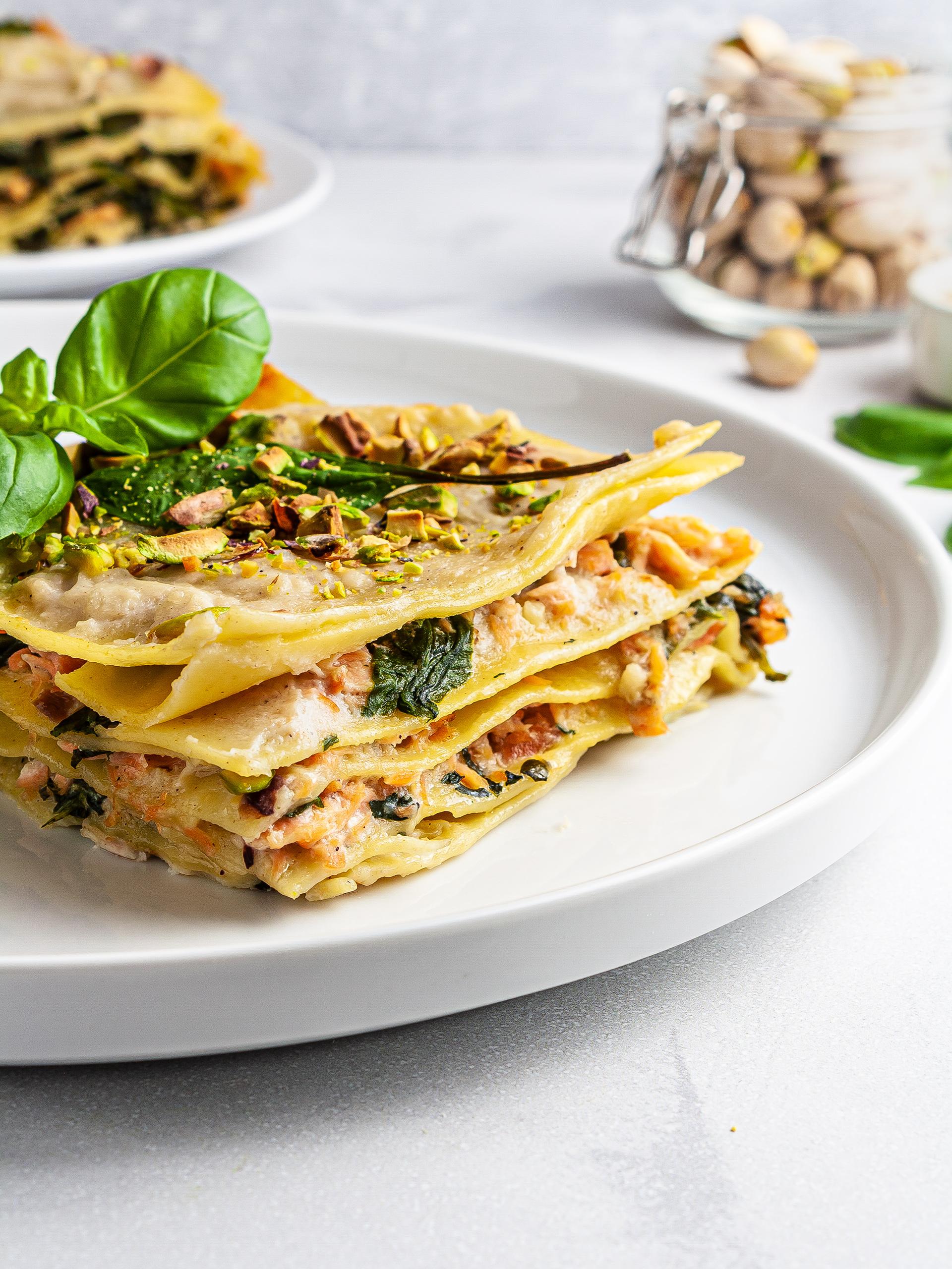 Dairy-Free Spinach Salmon Lasagna Recipe Preview