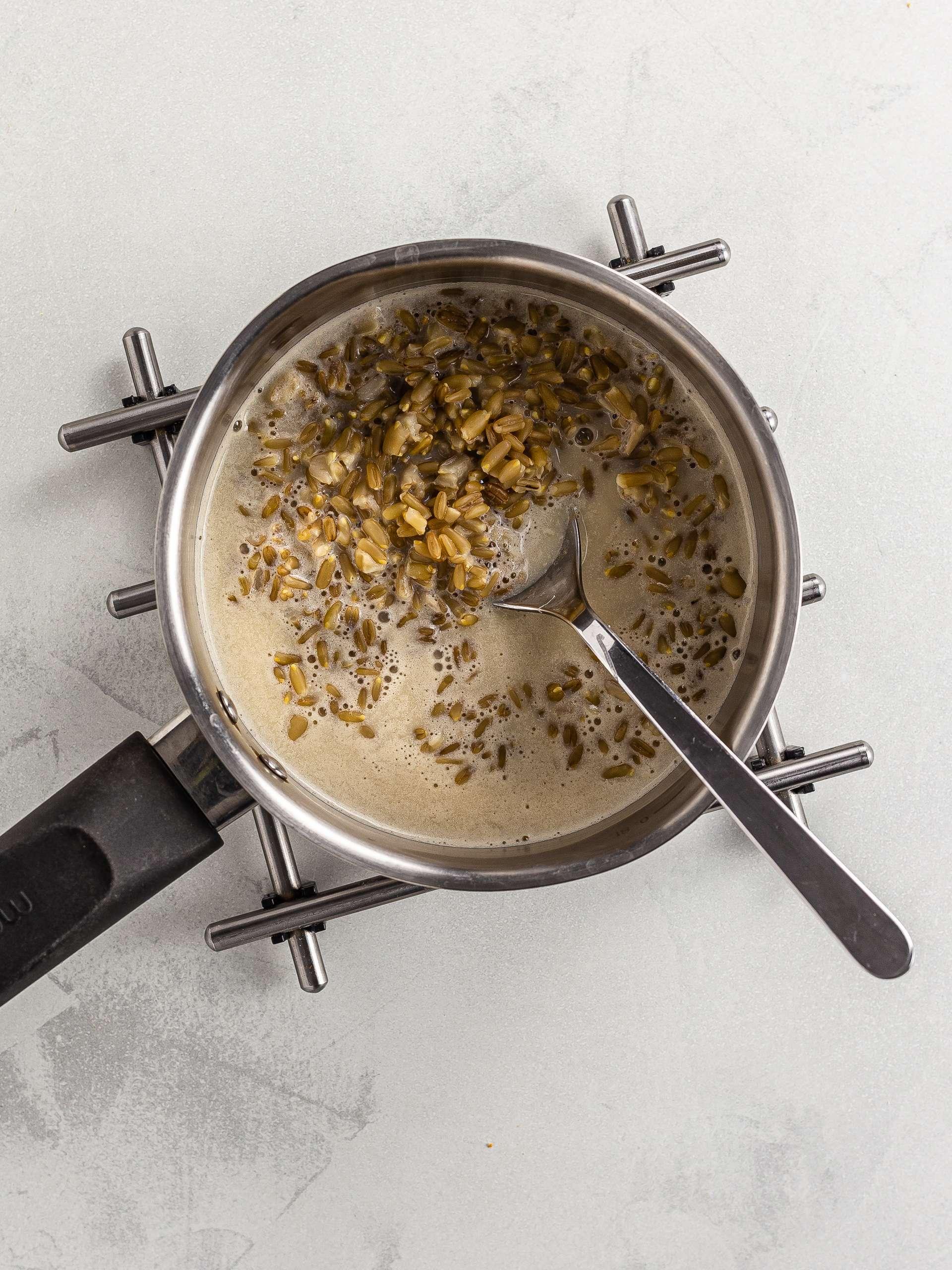 oat groats porridge with almond milk