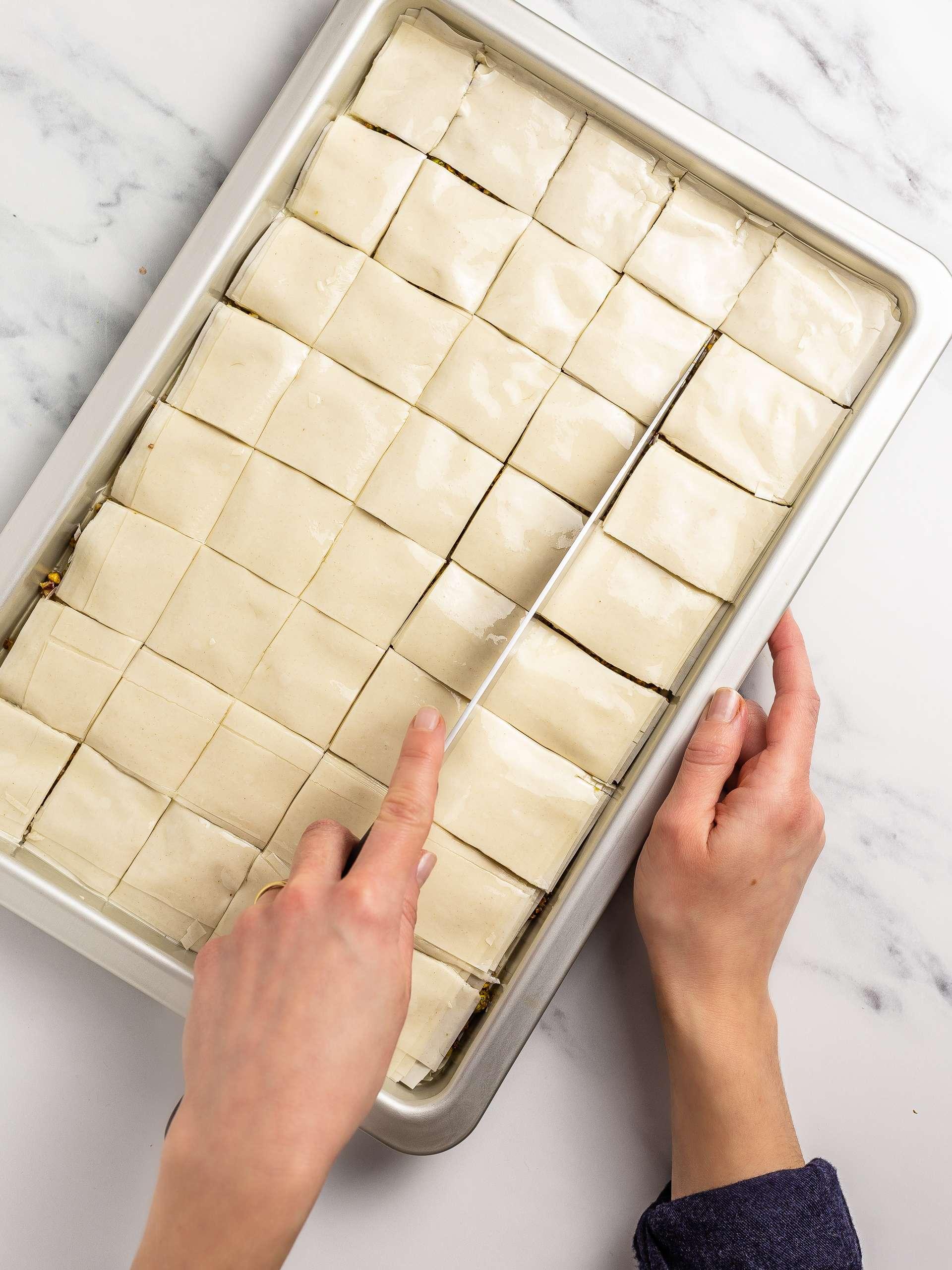 sliced baklava squares