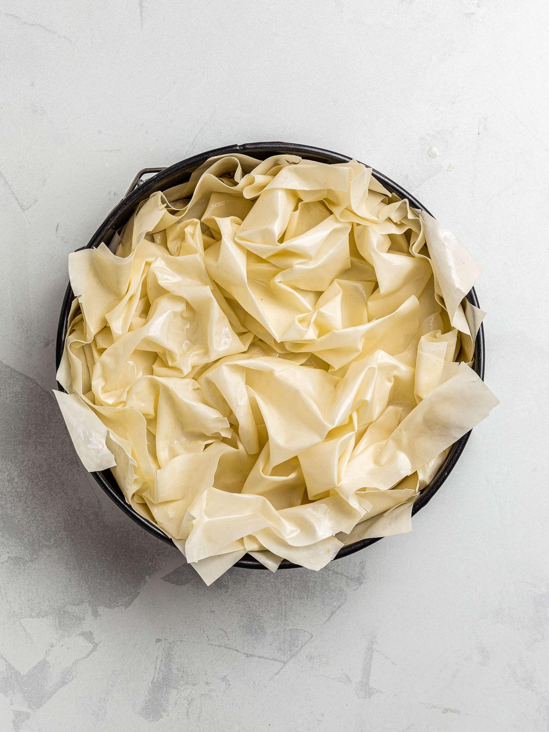 filo pie with crumpled filo sheets