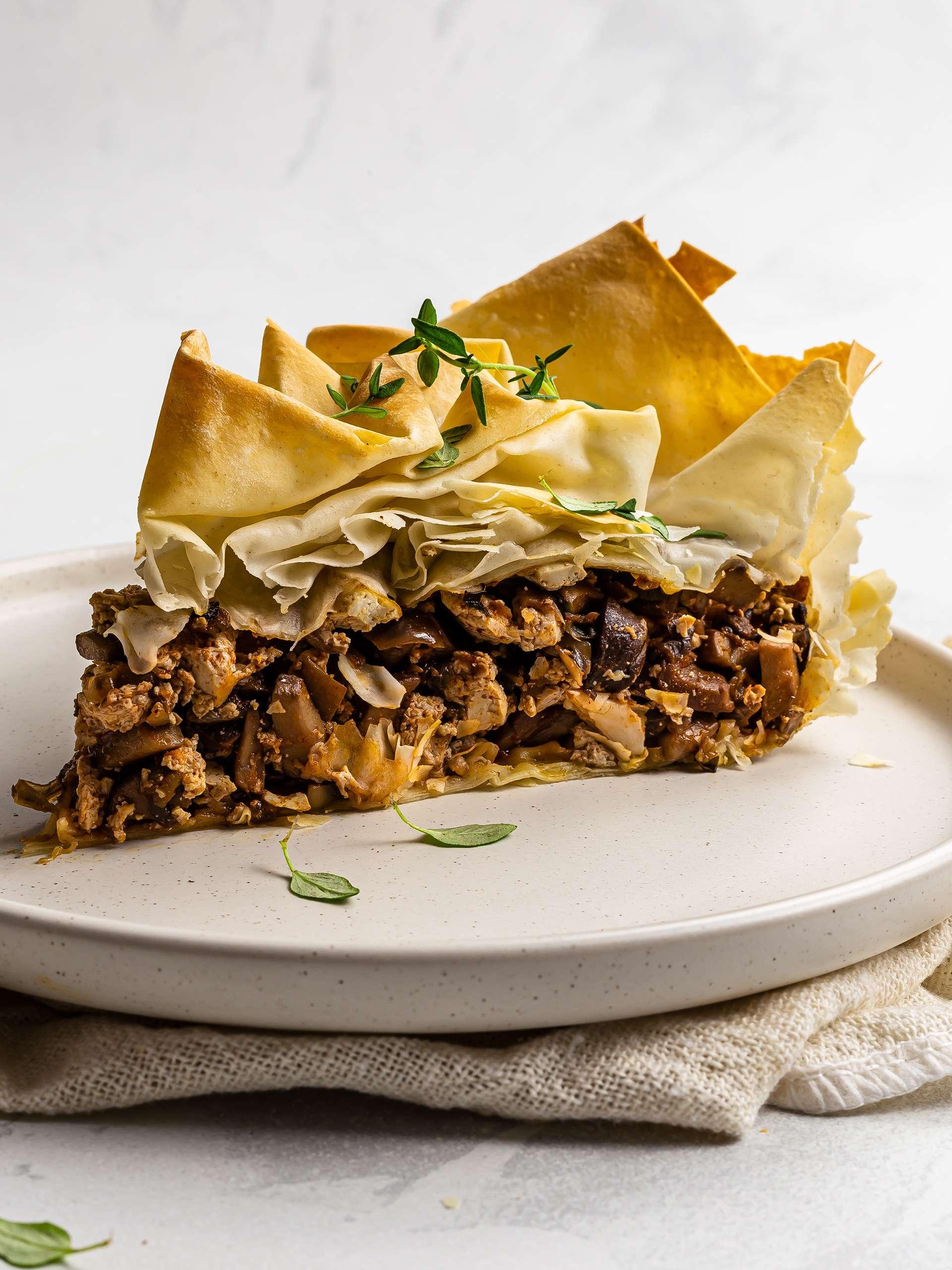 baked mushroom filo pastry pie