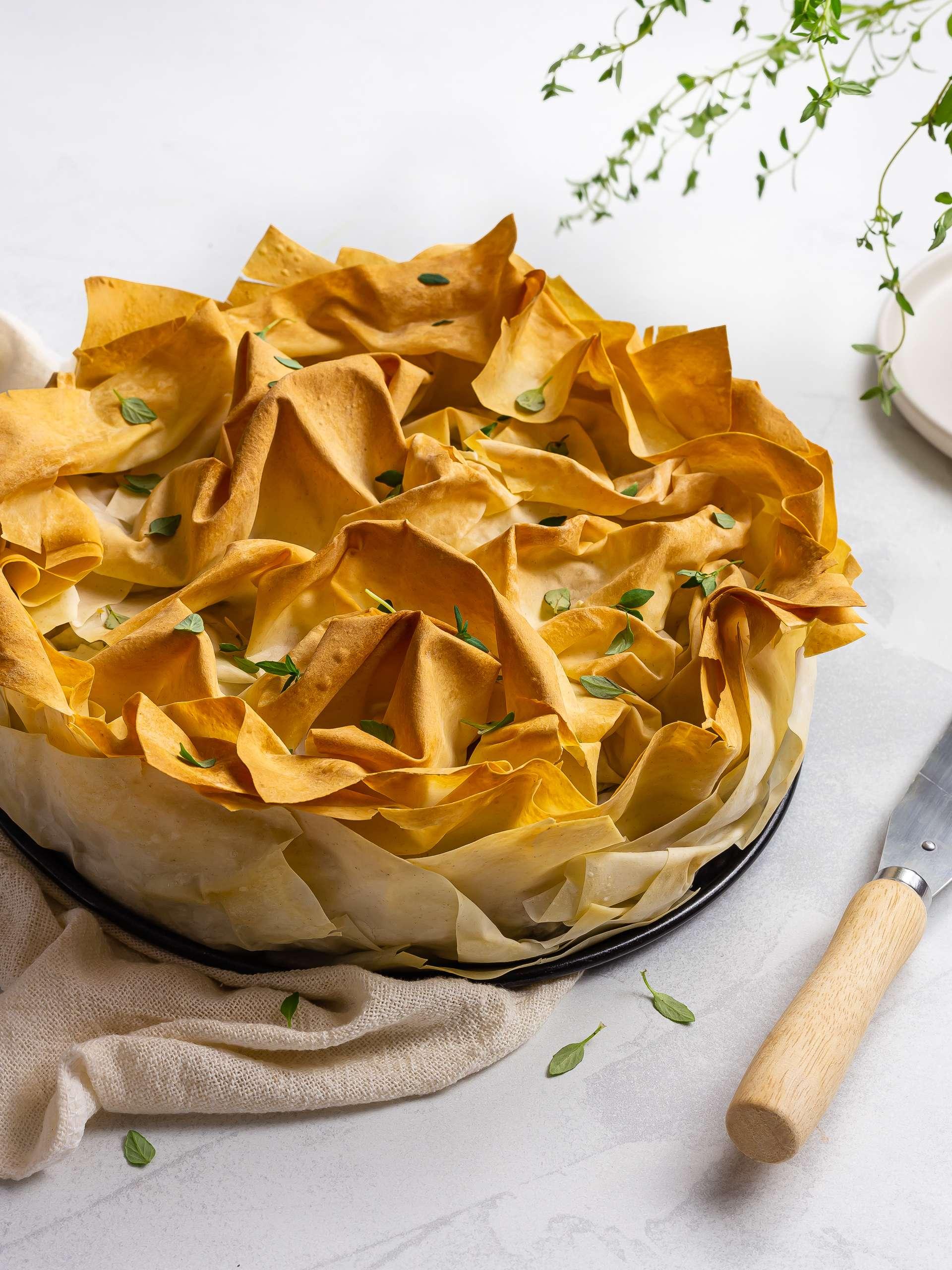 Vegan Manitaropita (Greek Mushroom Phyllo Pie)