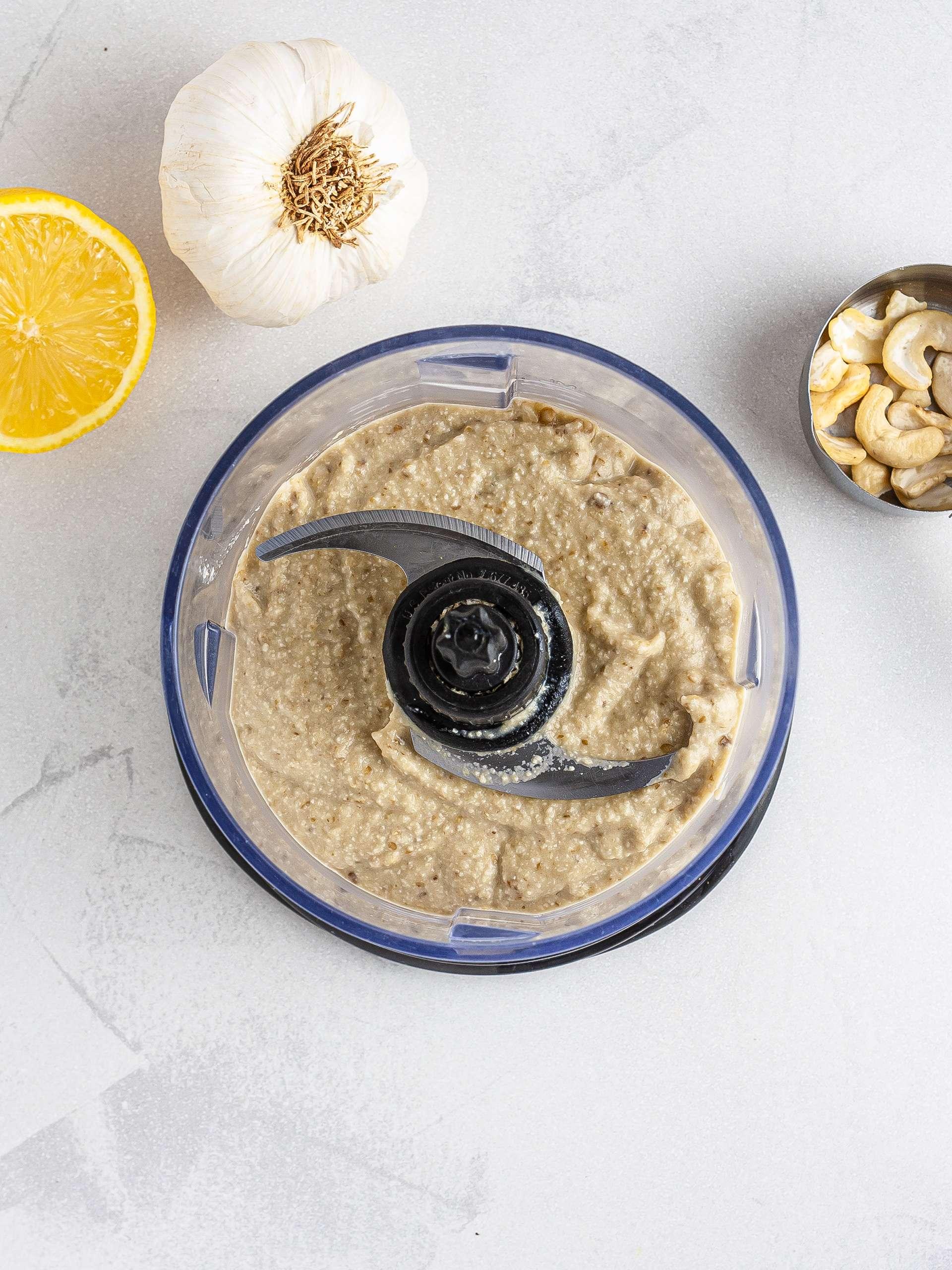 Aubergine blended with cashews garlic and lemon