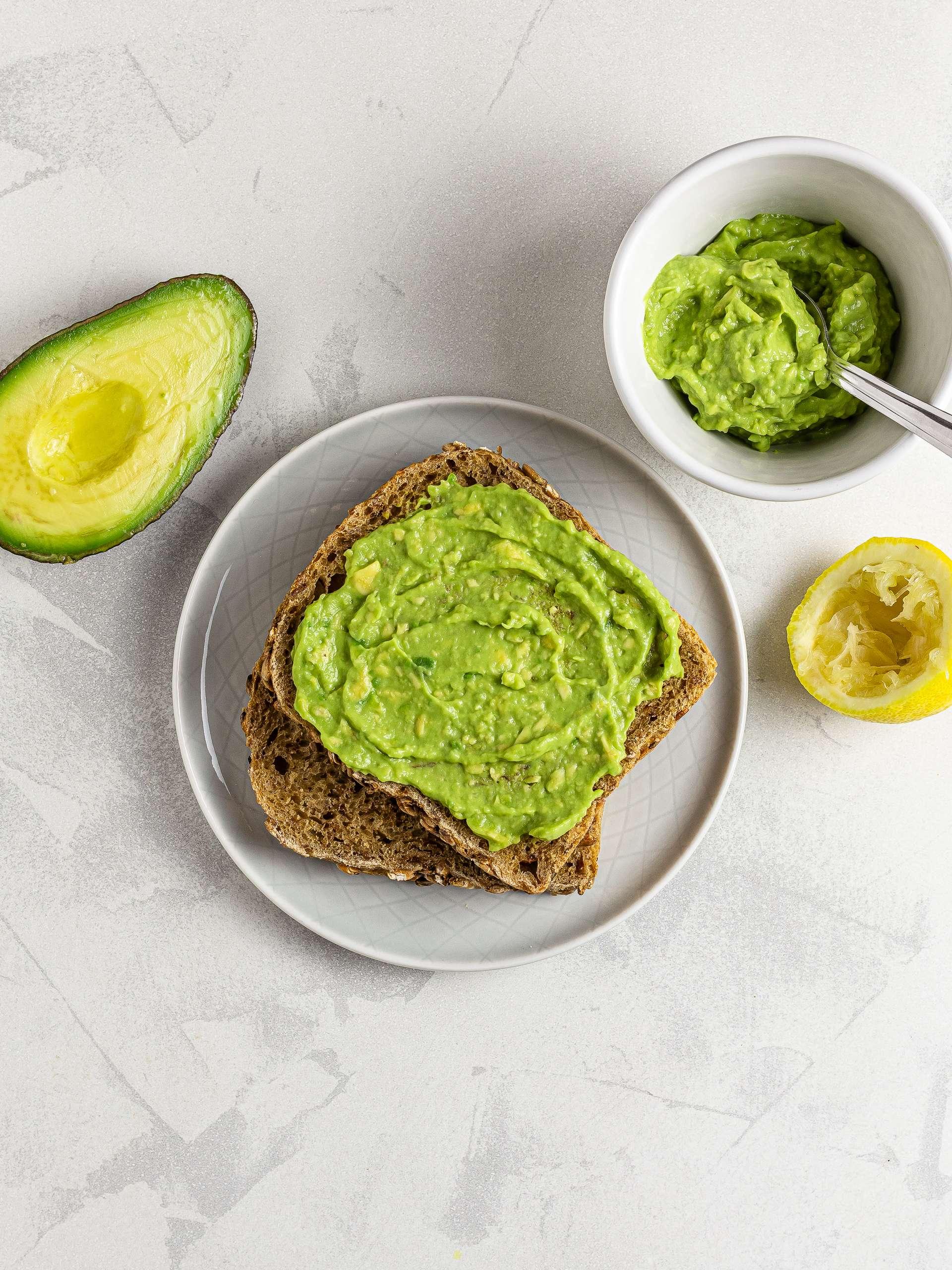 Sourdough toast with avocado puree