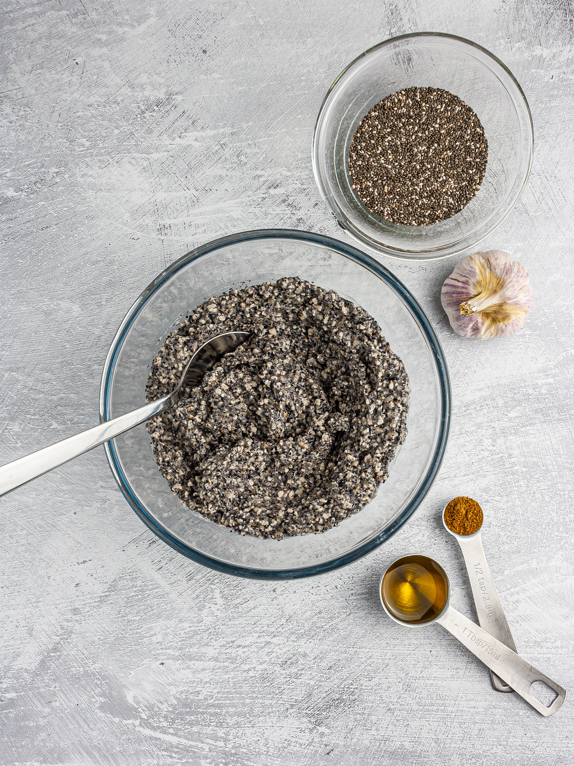 Black bean chips dough with chia seeds.