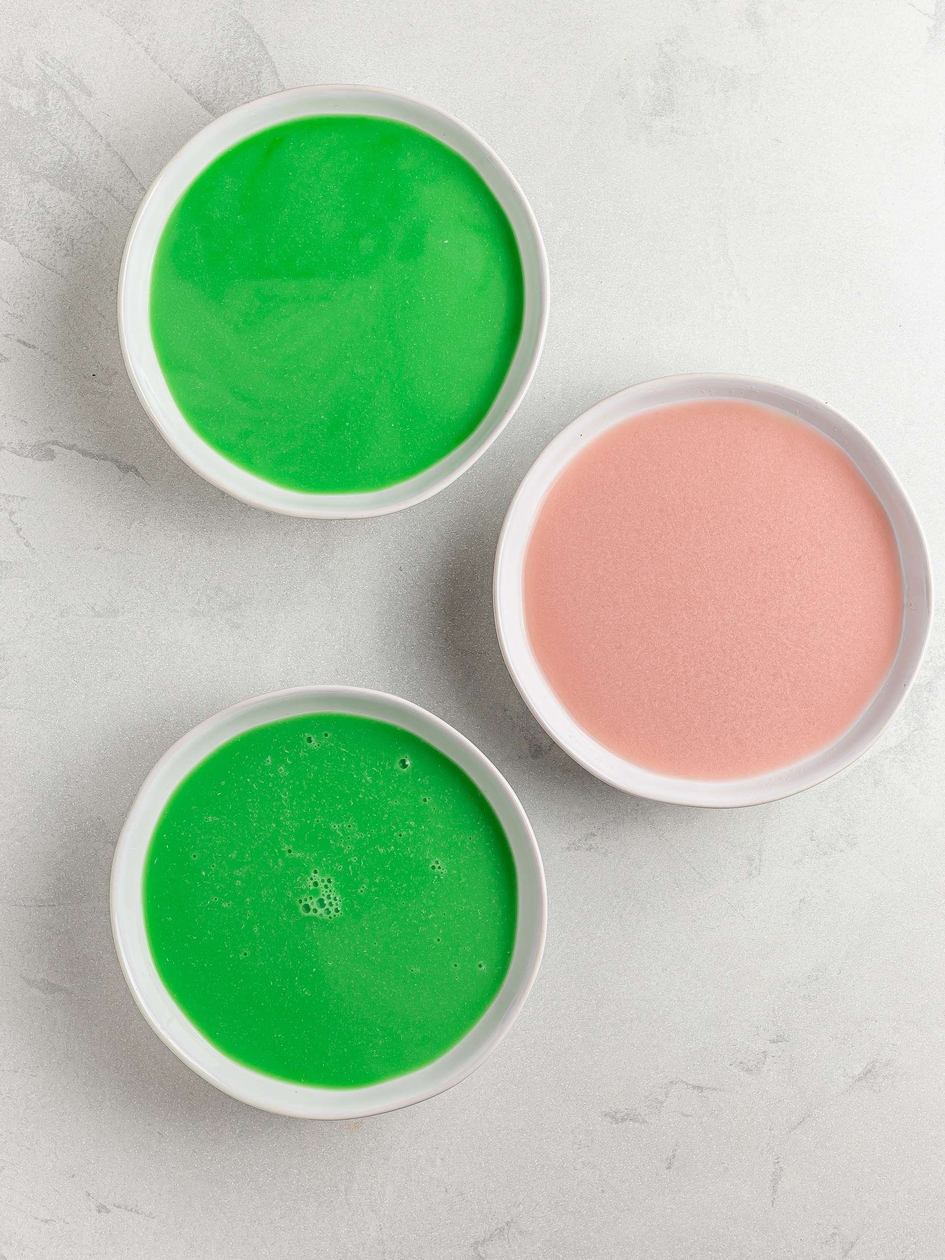 pandan coconut milk and strawberry milk for jelly