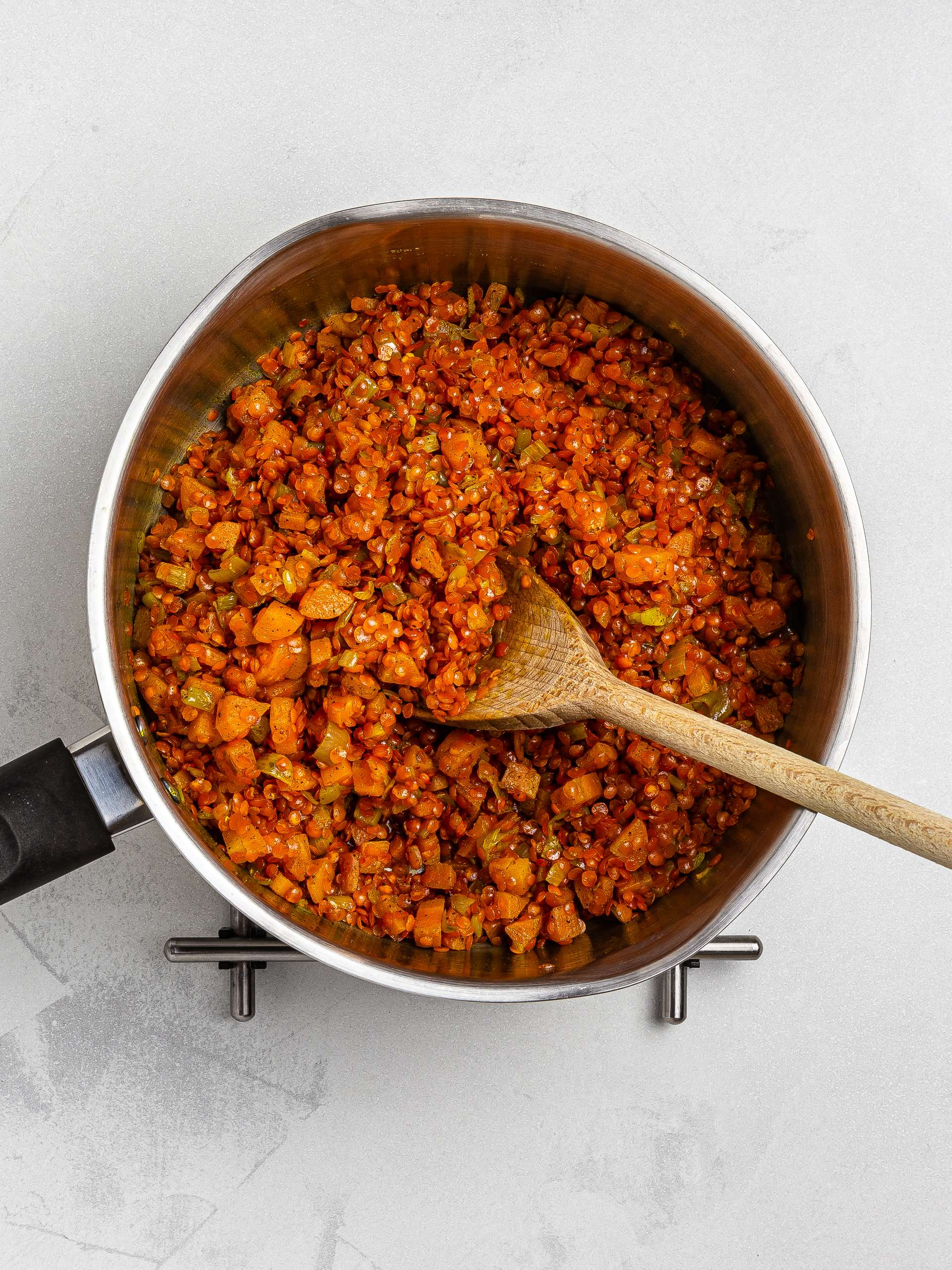 red lentils in a pot for soup