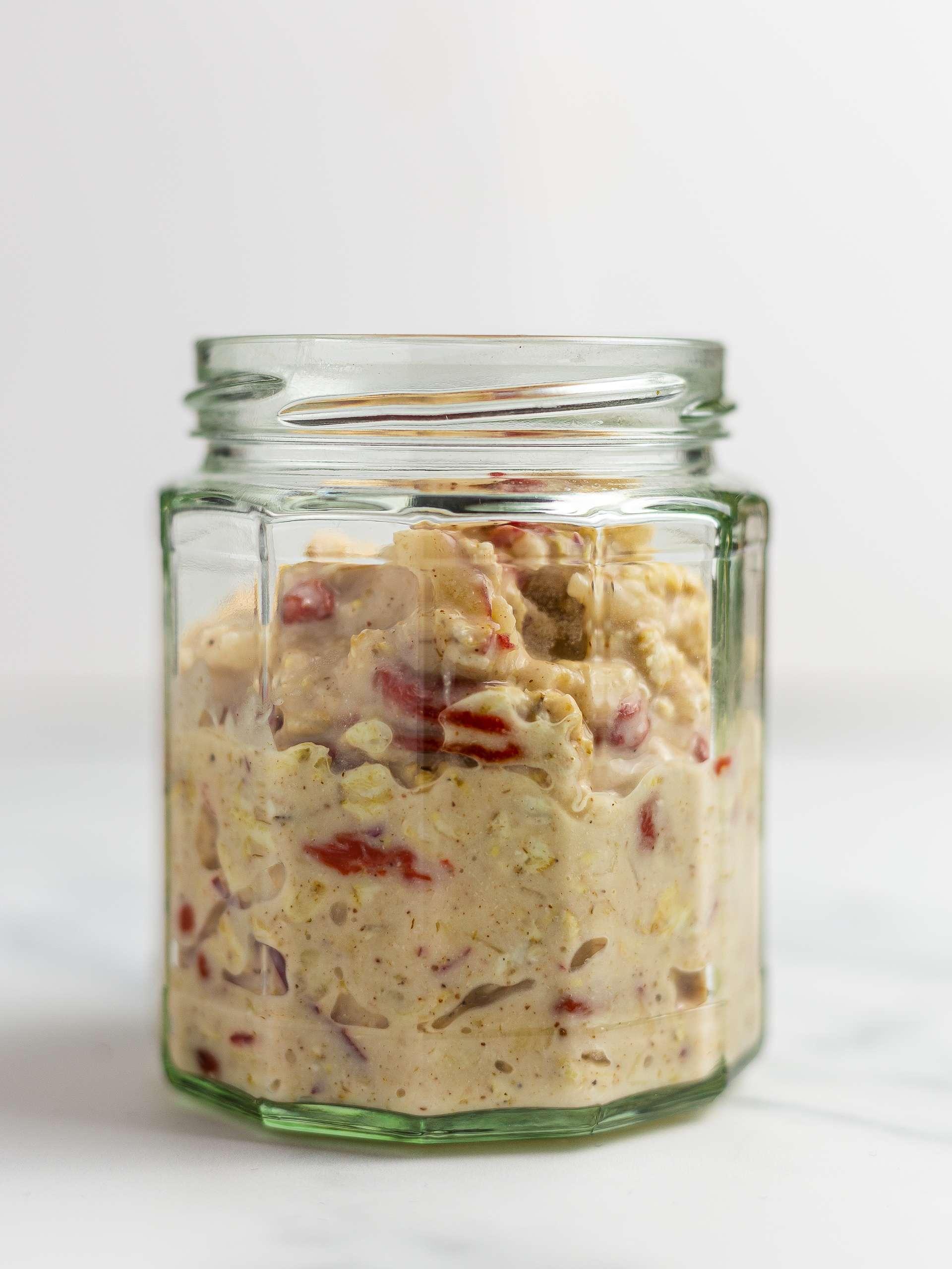 Goji and apple bircher muesli in a jar