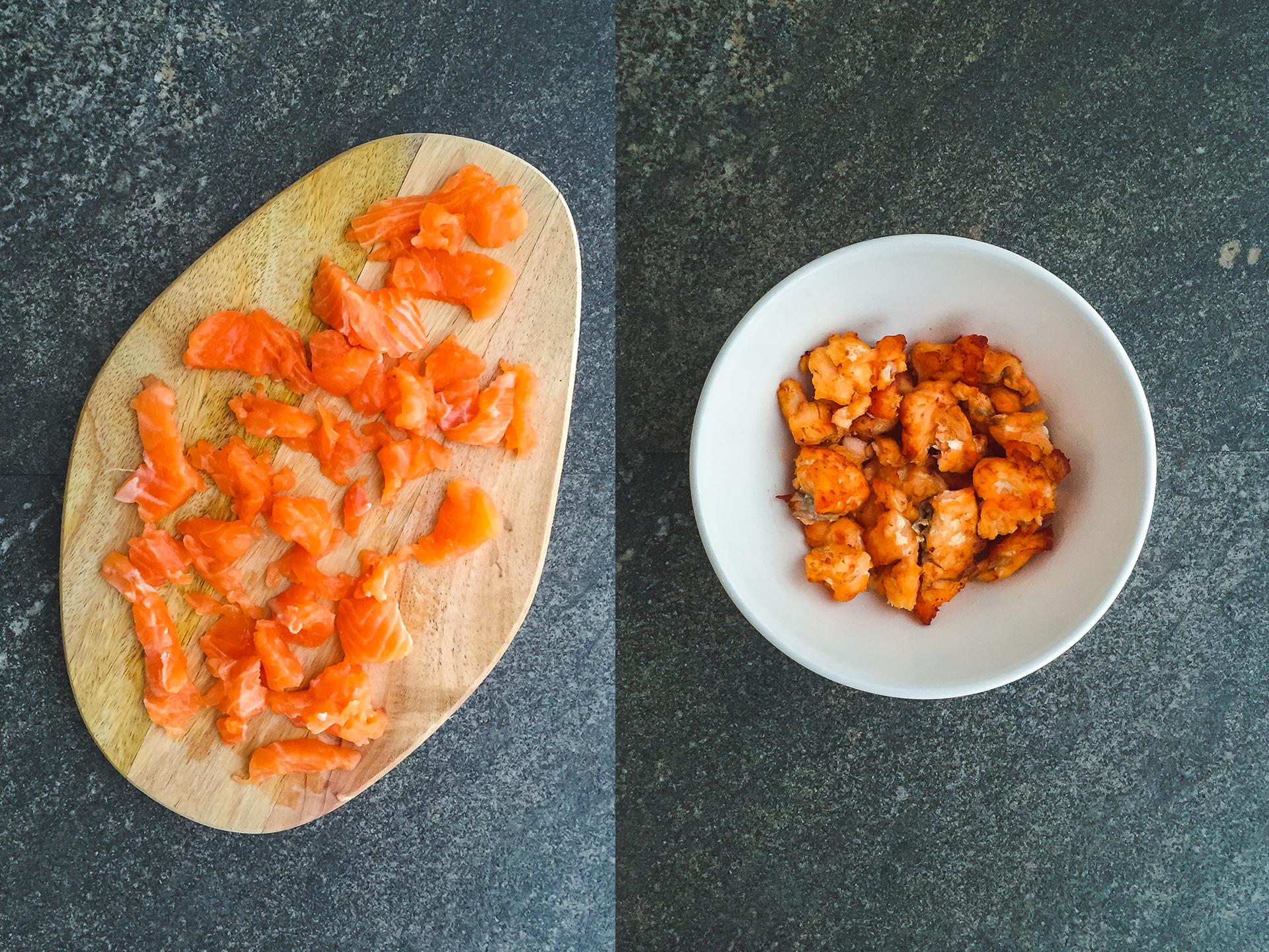 Step 1.1 of No Cream Carbonara with Crispy Salmon