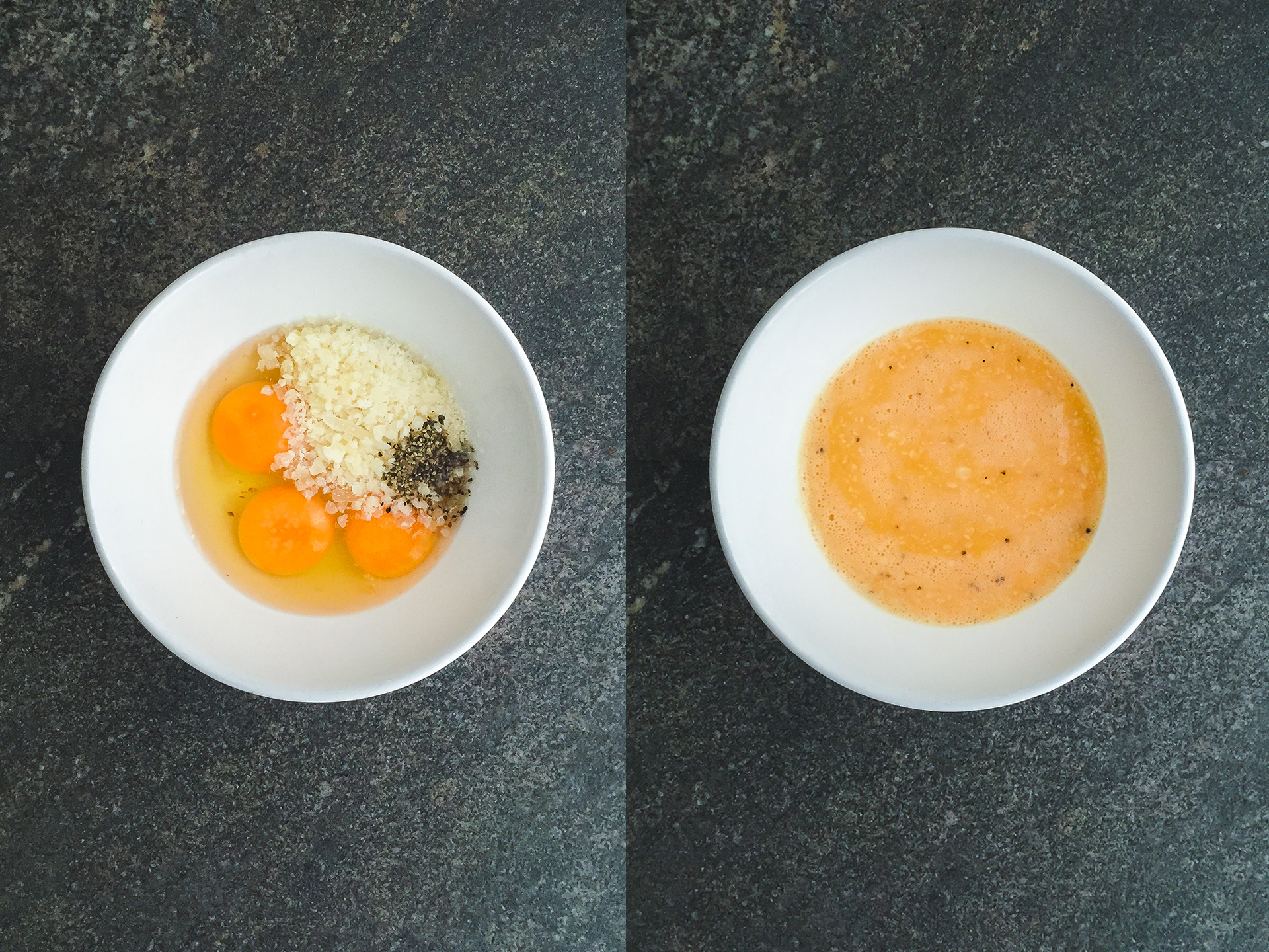 Step 2.1 of No Cream Carbonara with Crispy Salmon