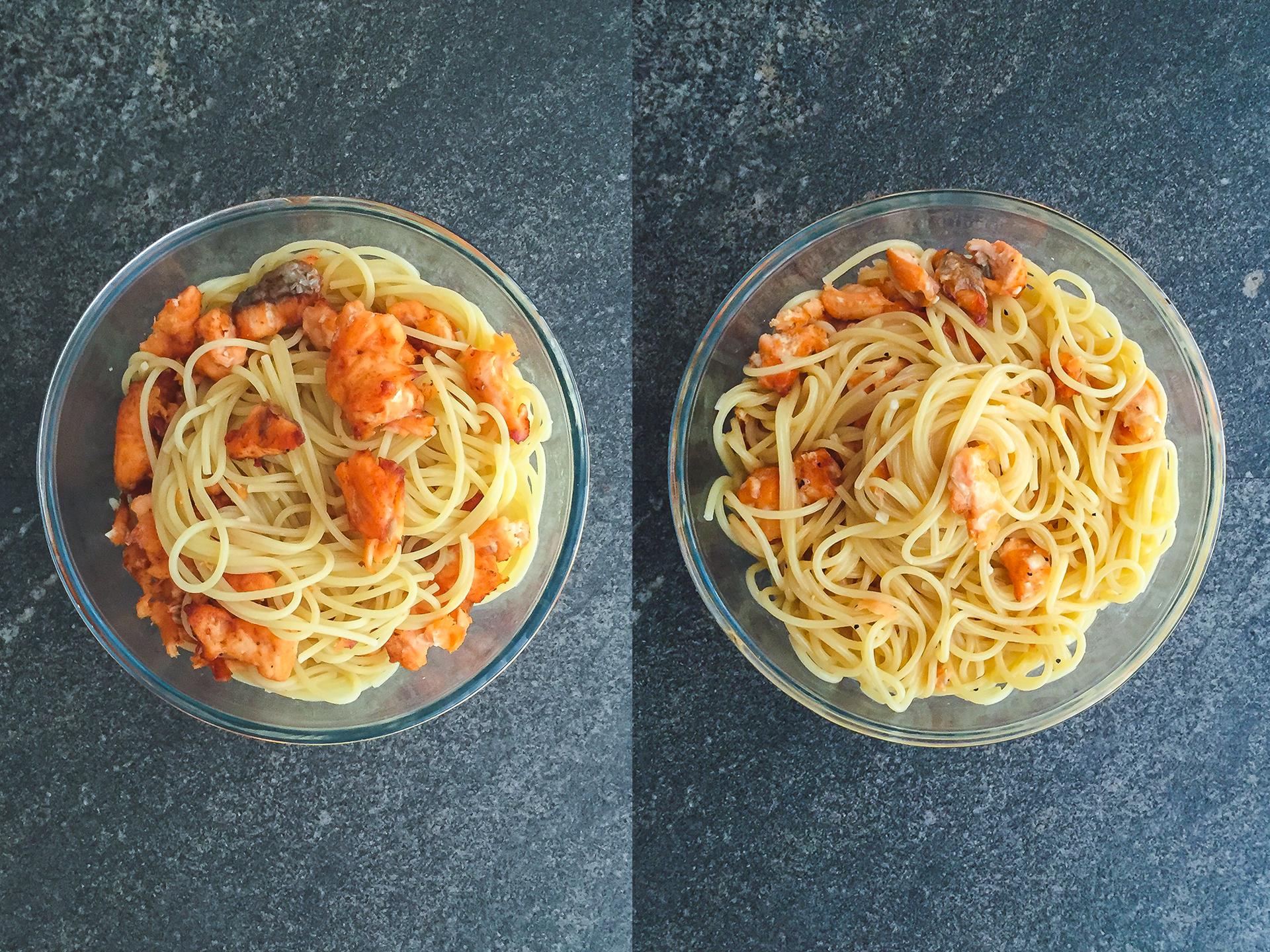 Step 3.1 of No Cream Carbonara with Crispy Salmon