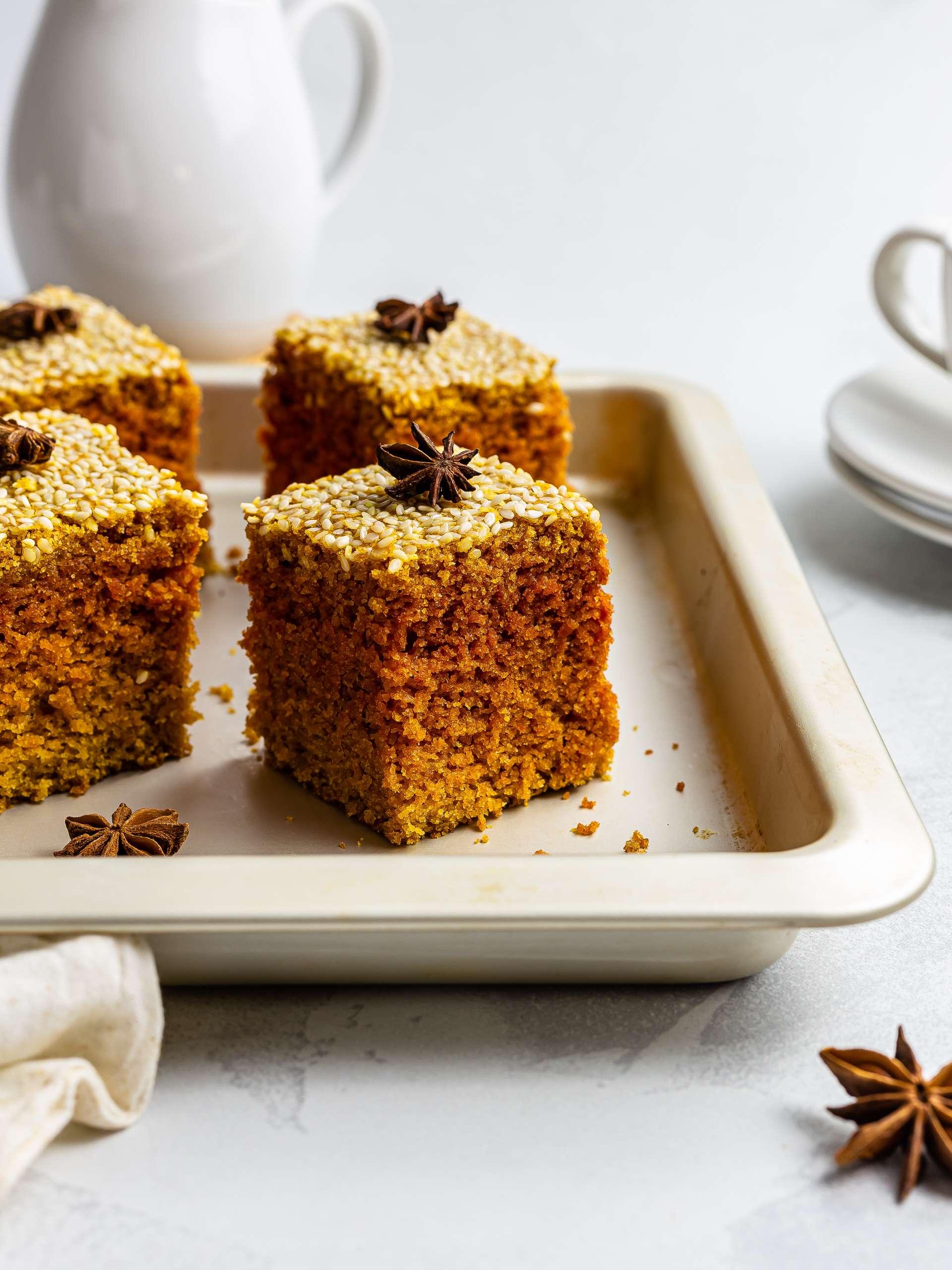 Vegan Sfouf Cake (Lebanese Semolina Cake)