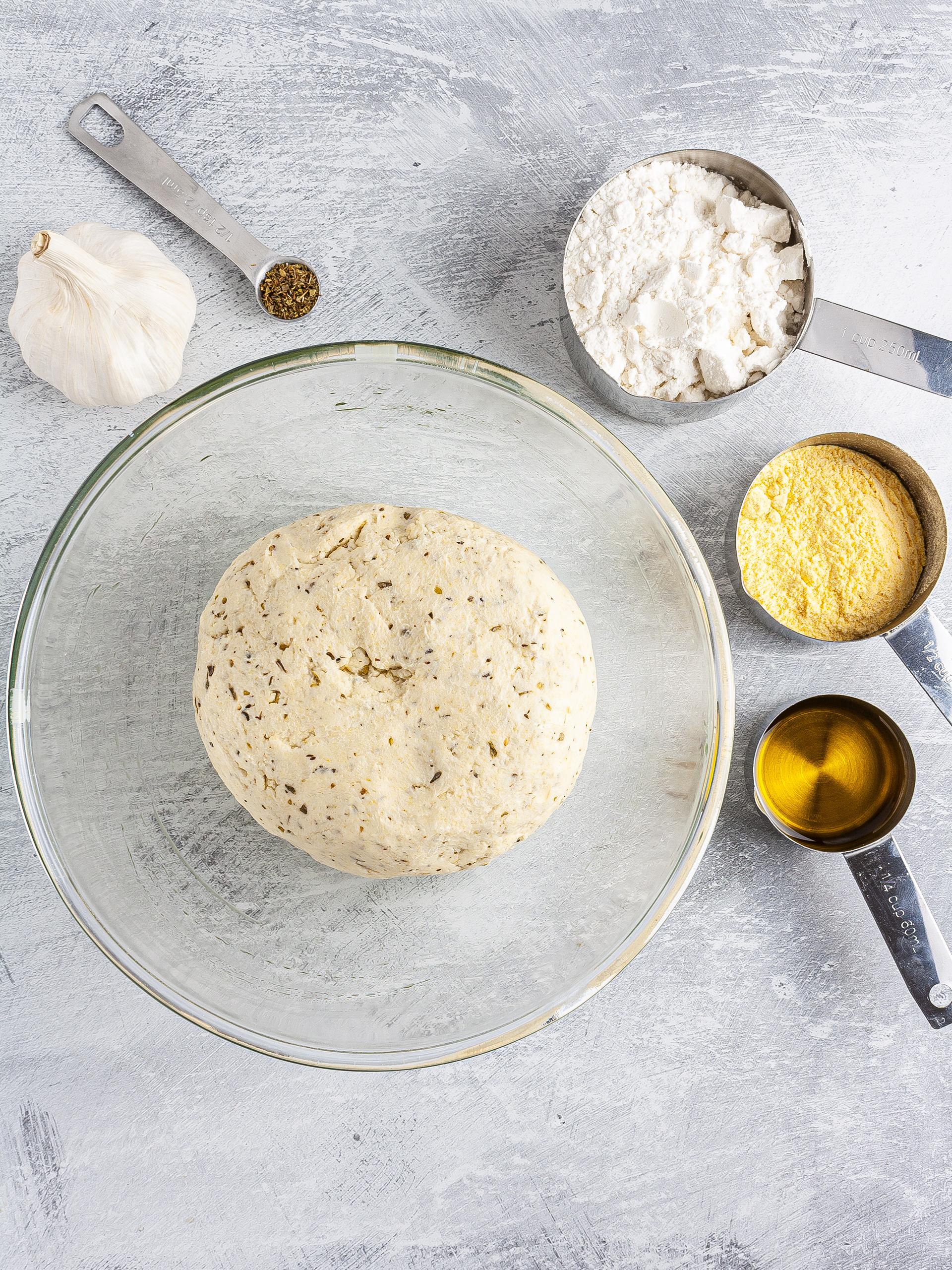 Gluten-free breadstick dough in a bowl