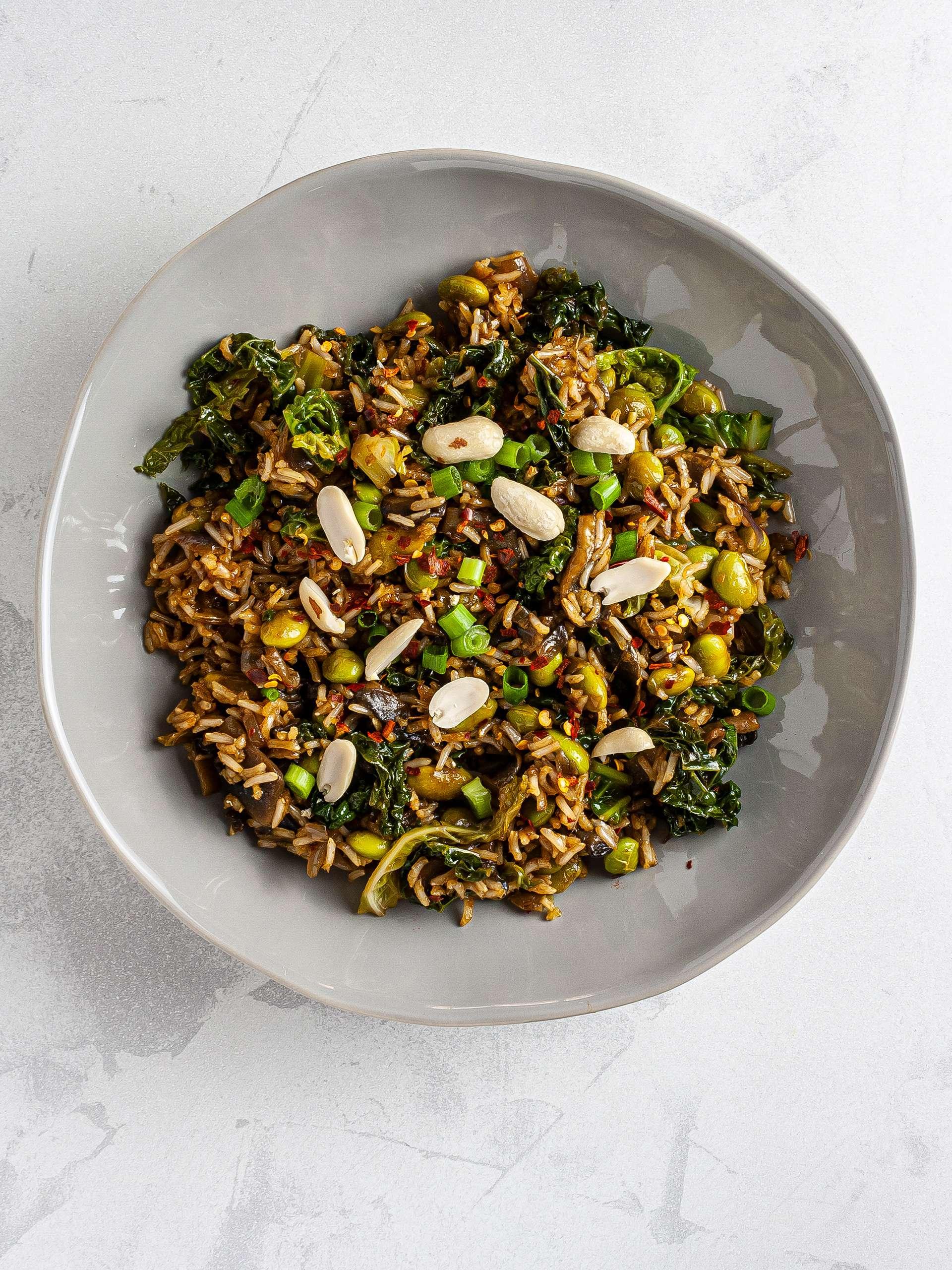 Vegan nasi goreng rice with peanuts