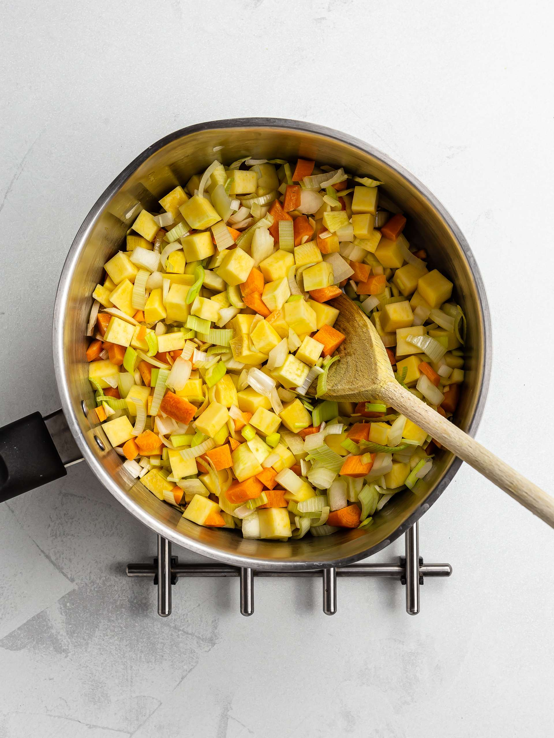 scotch broth vegetables in a pot