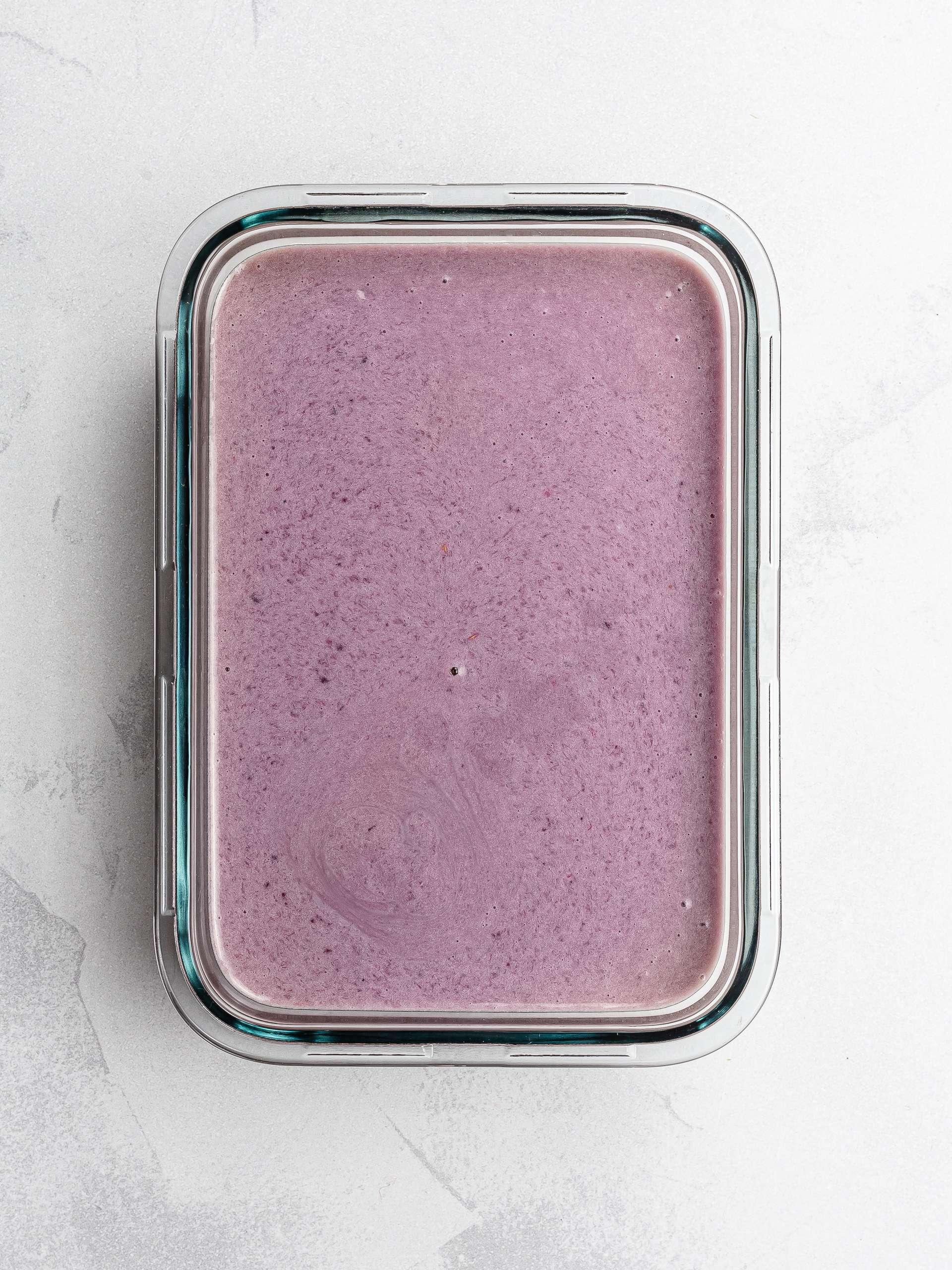 vegan lavender ice cream in a container