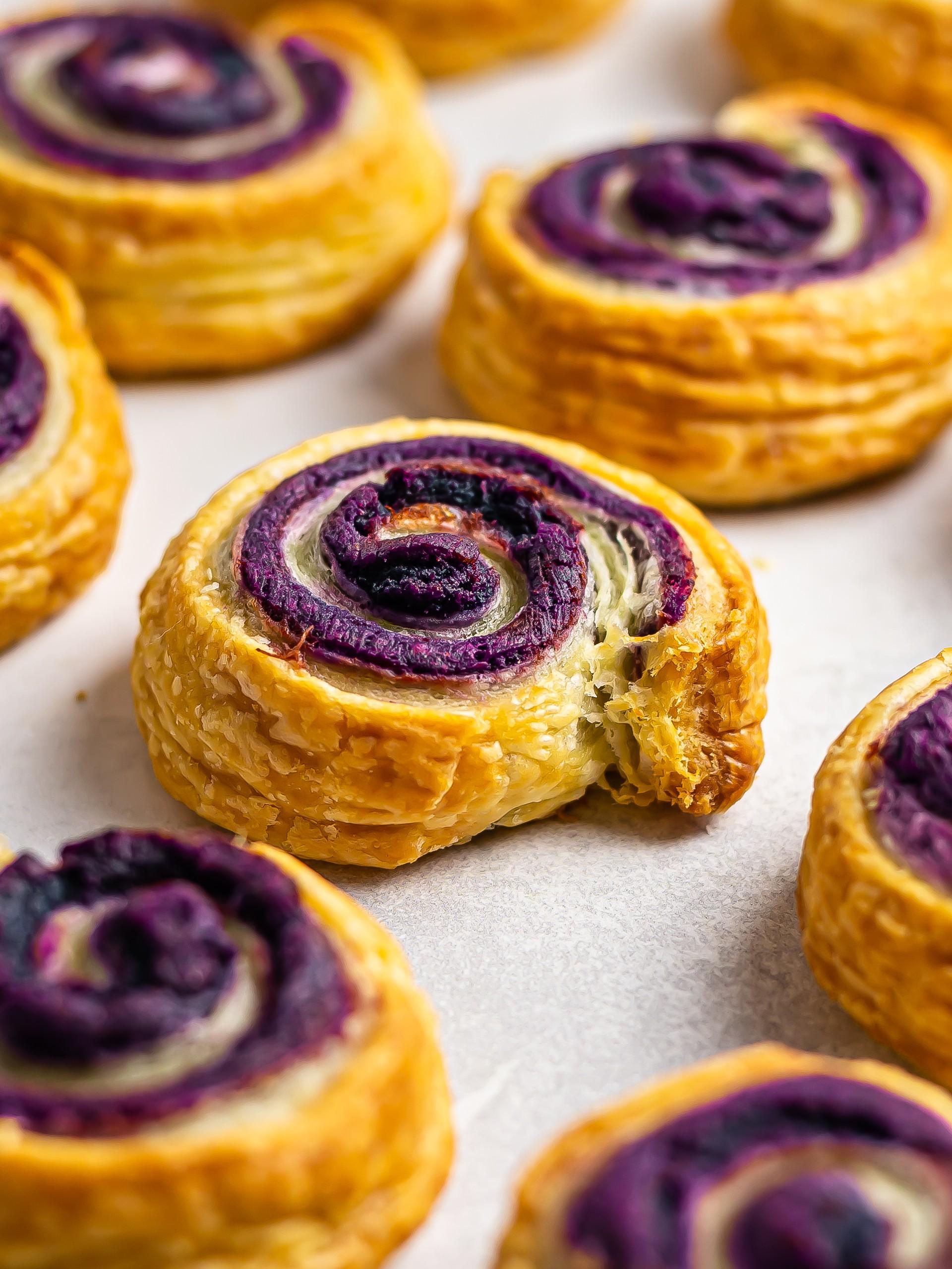 Vegan Ube Cinnamon Rolls with Puff Pastry