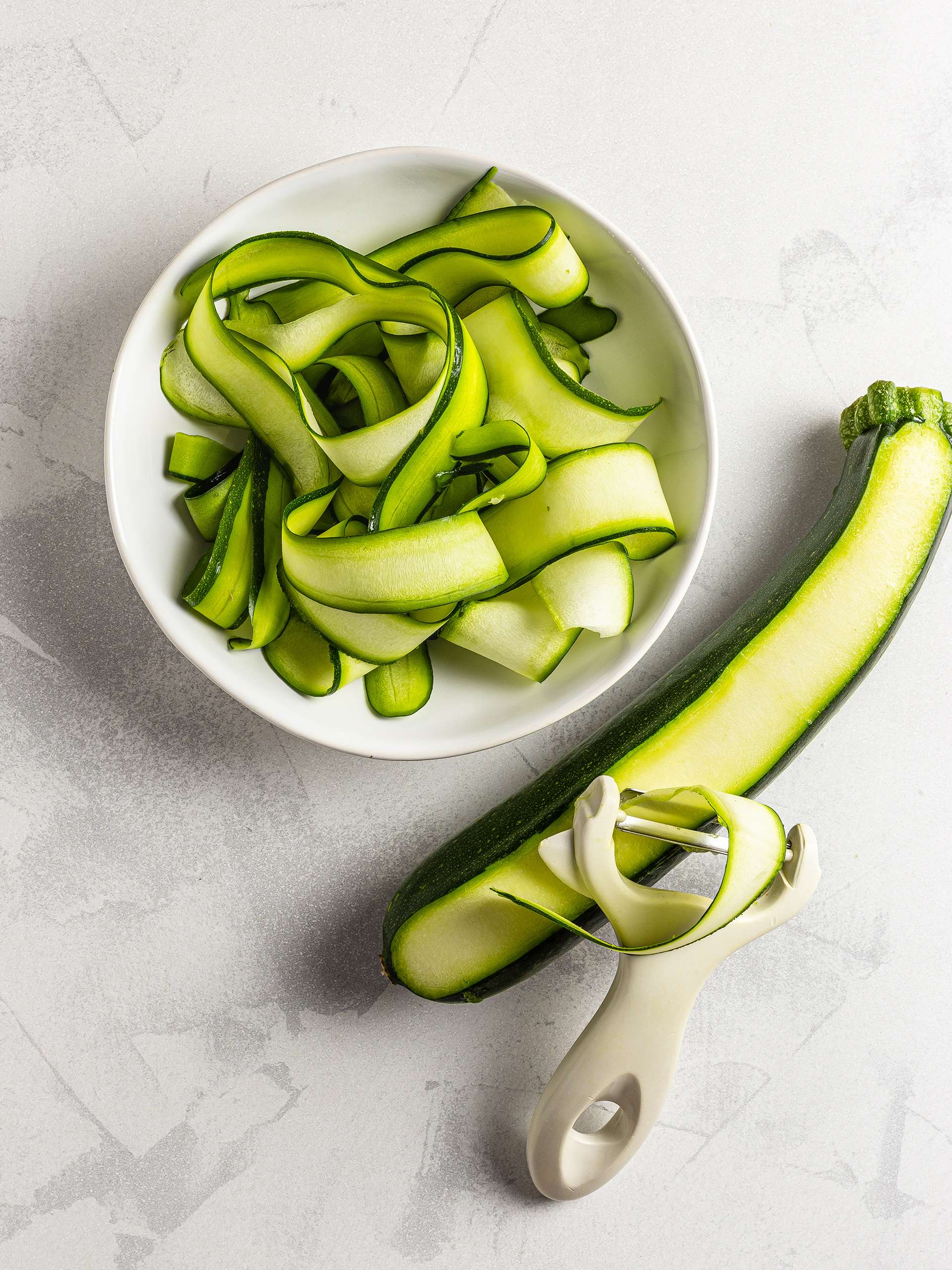 Shaved zucchini ribbons