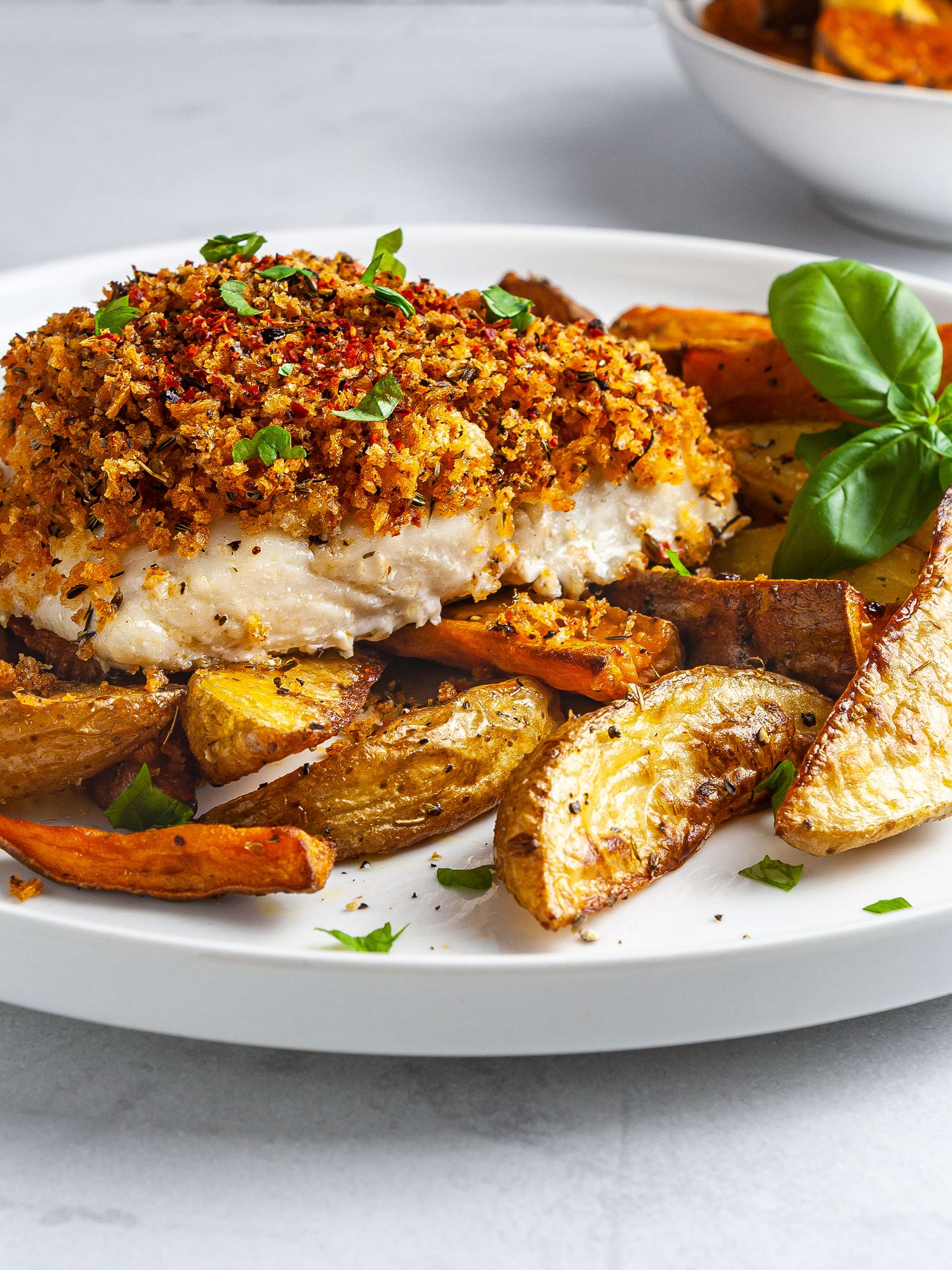 Oven-Baked Hake in Spicy Breadcrumbs