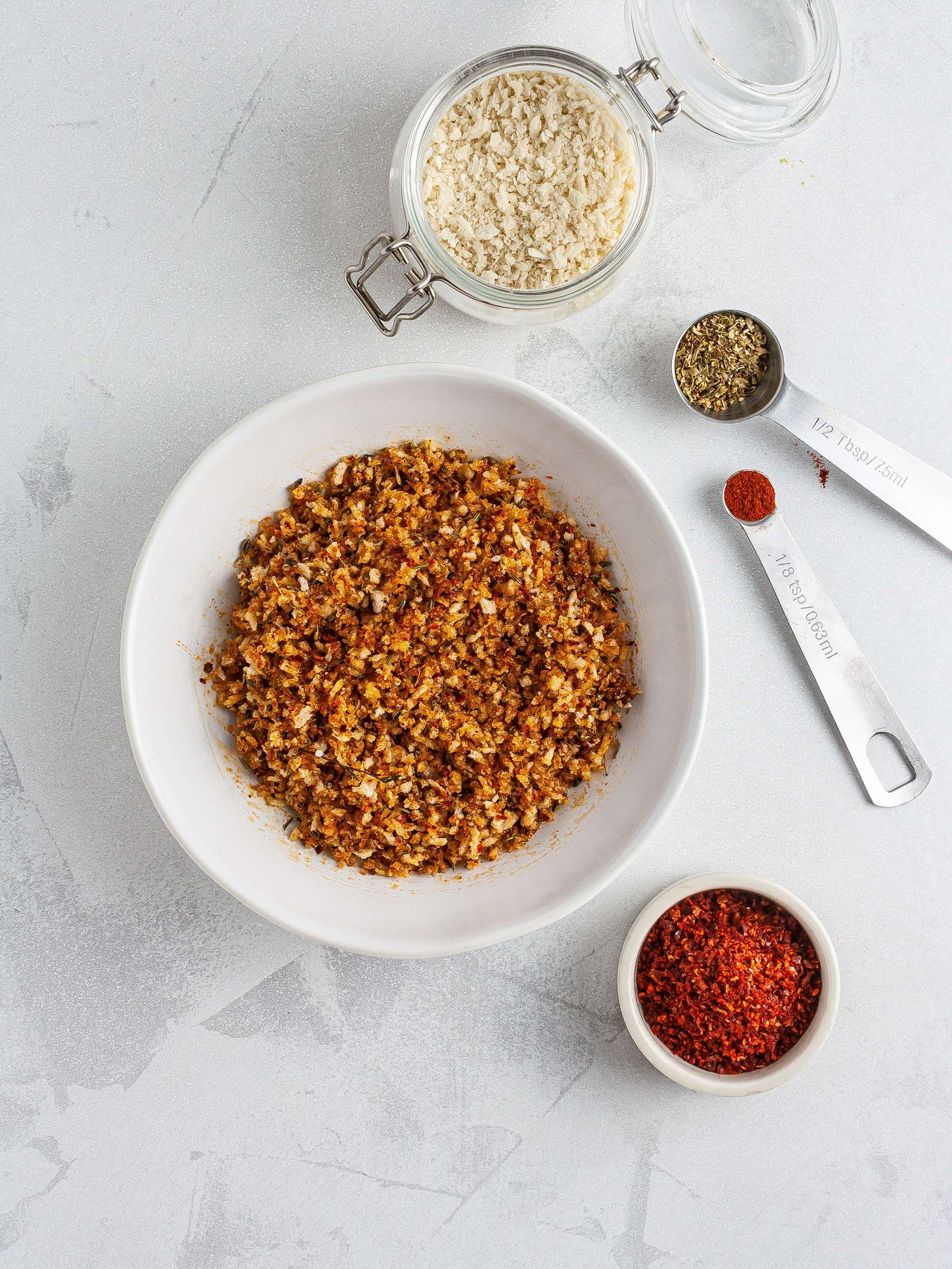 Spicy breadcrumb coating with paprika, oregano, chillies