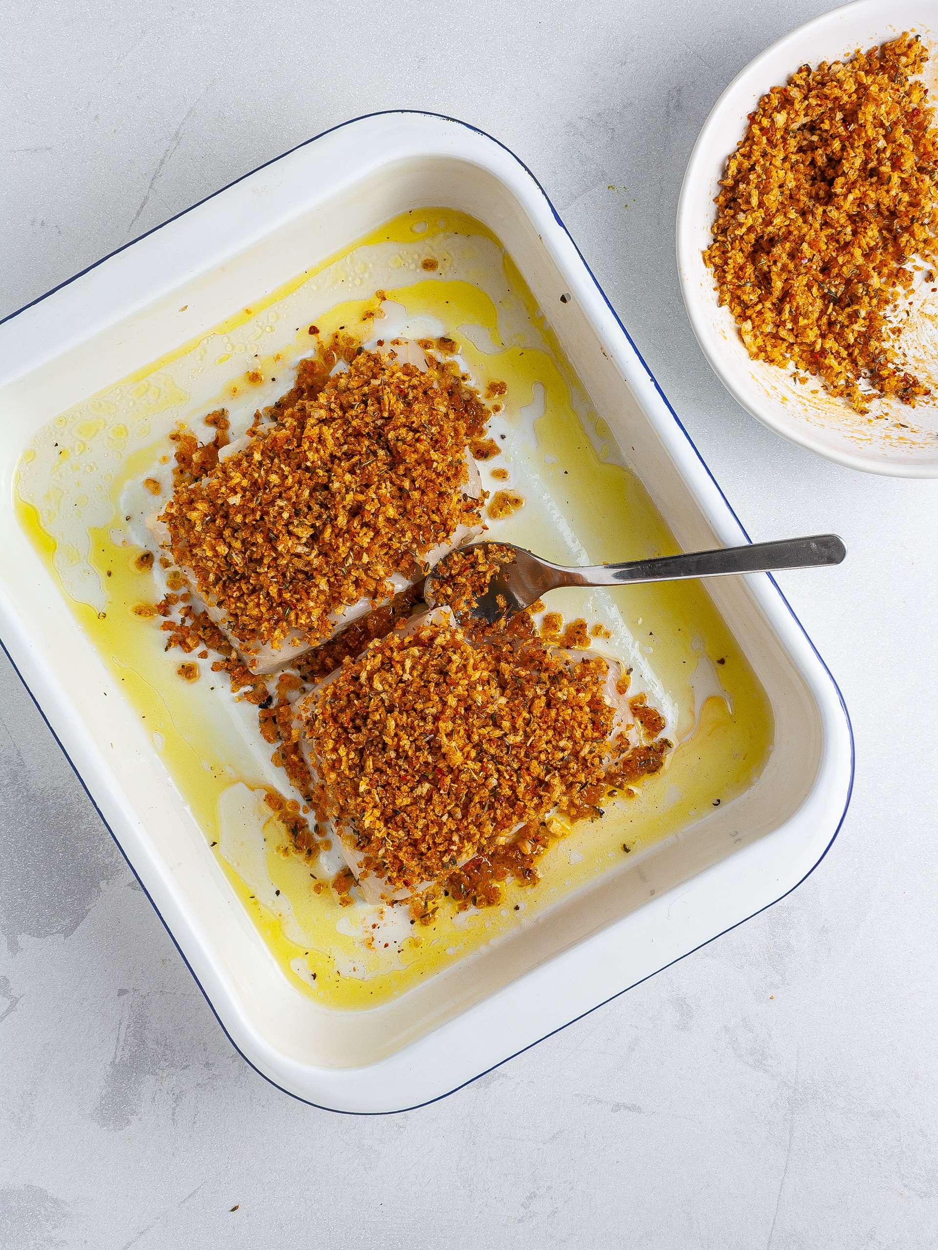Hake coated with spicy breacrumbs